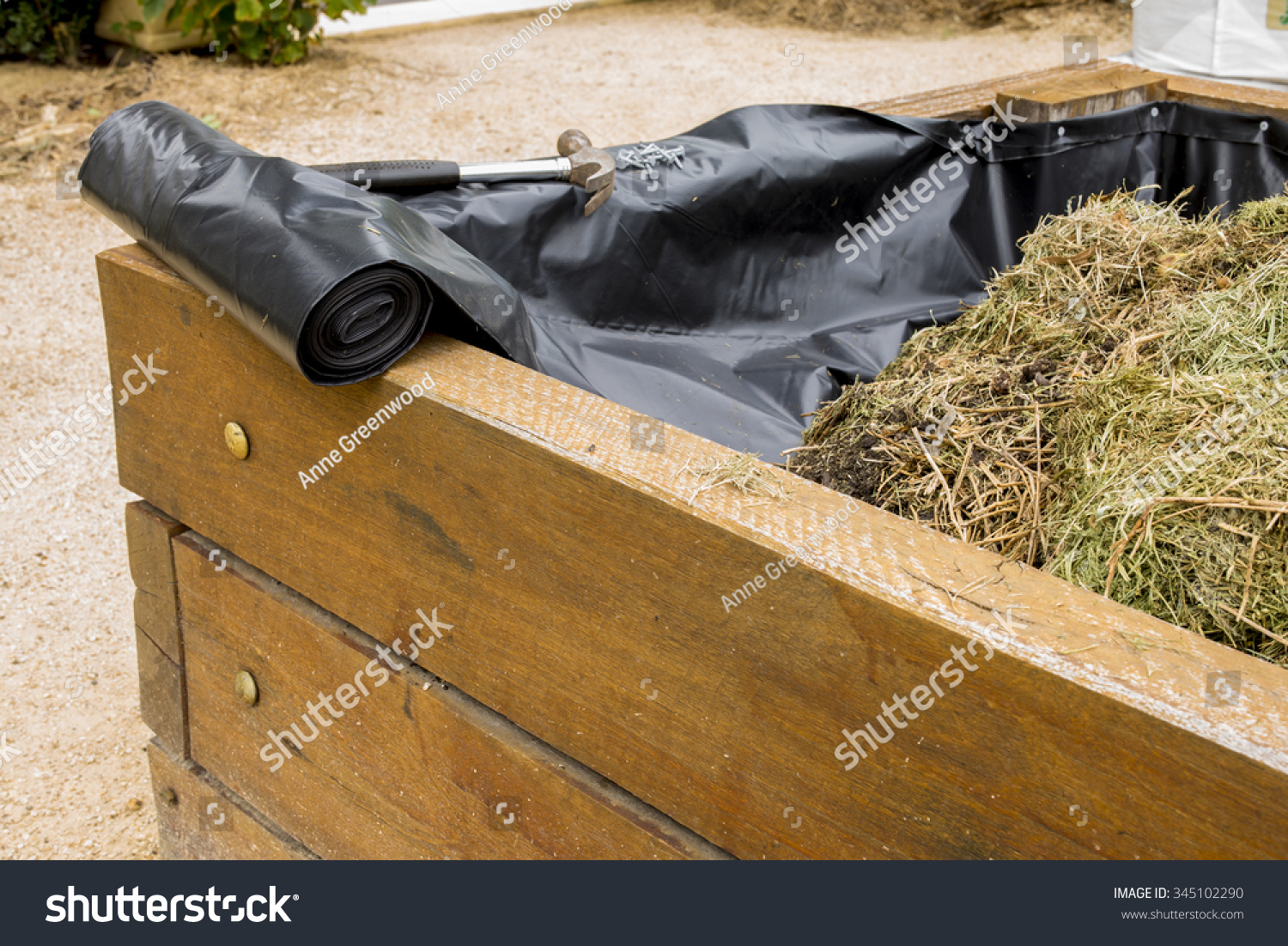 Vegetable Garden Bed Plastic Liner Stock Photo 345102290