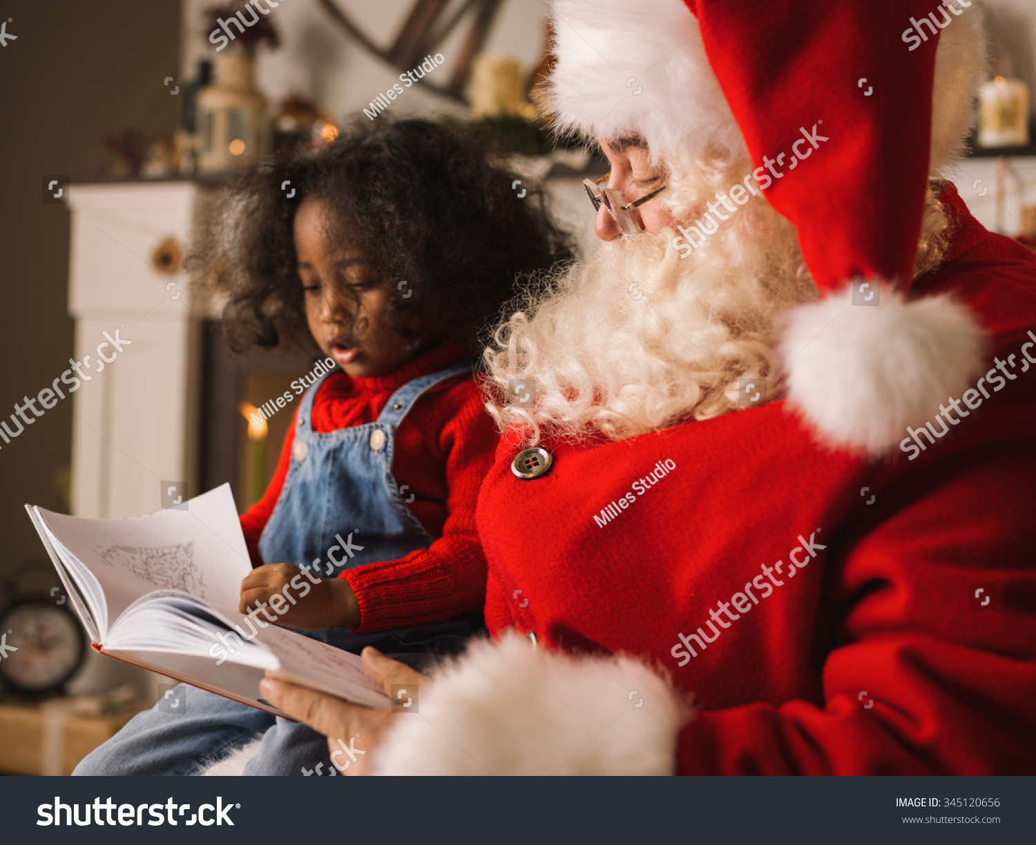 African American Santa Reading A Letter  Santa Reading A Christmas