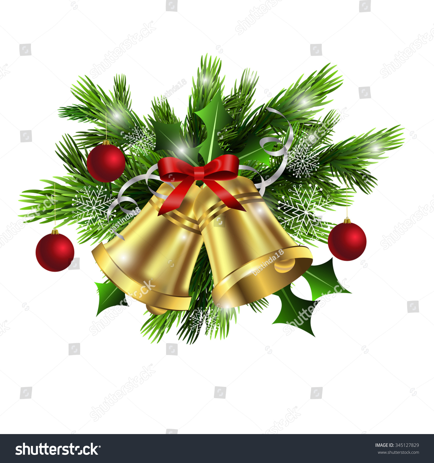 christmas decoration with evergreen trees and bells with balls