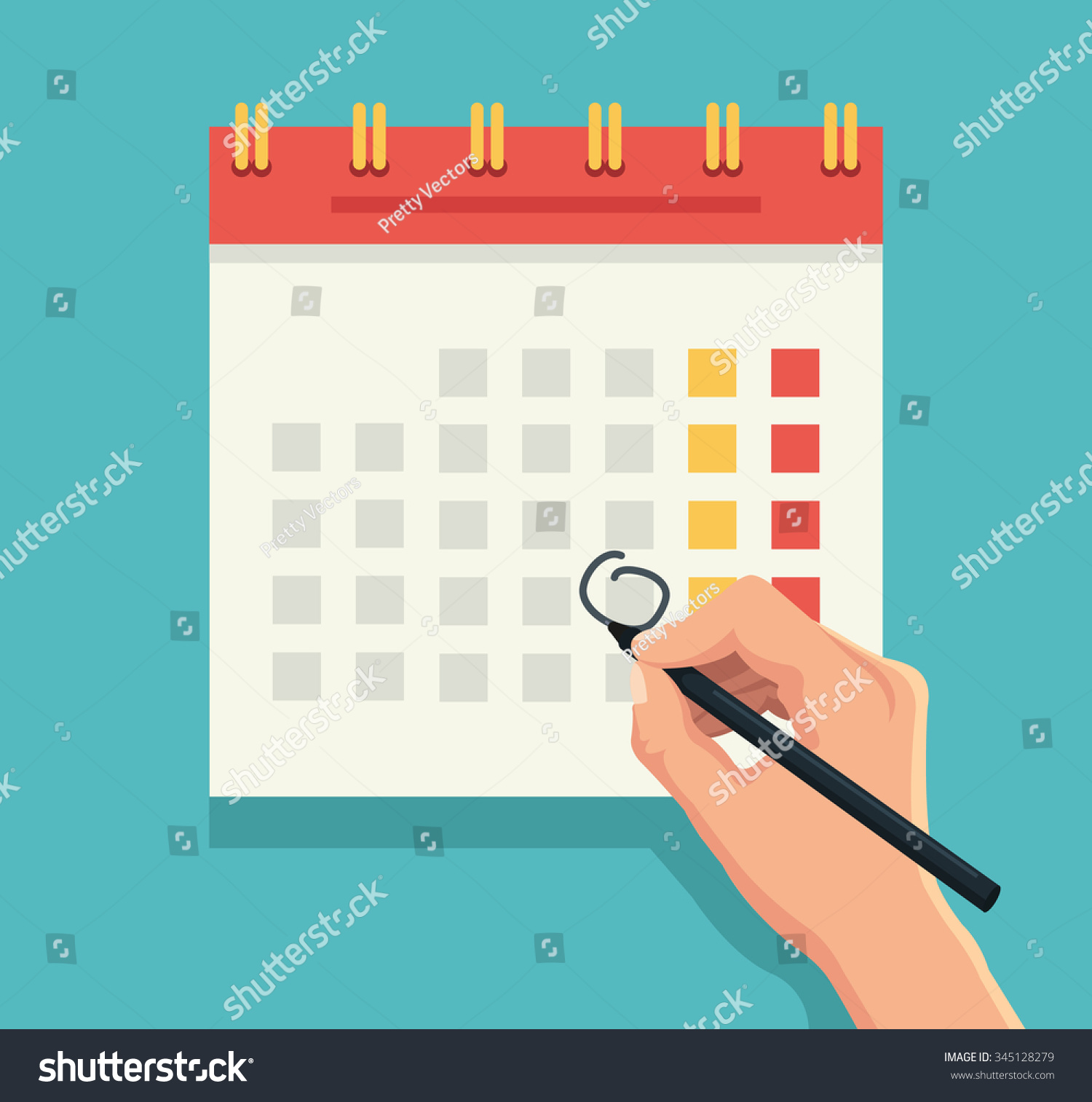 Calendar Month Illustration : Hand pen mark calendar vector flat stock