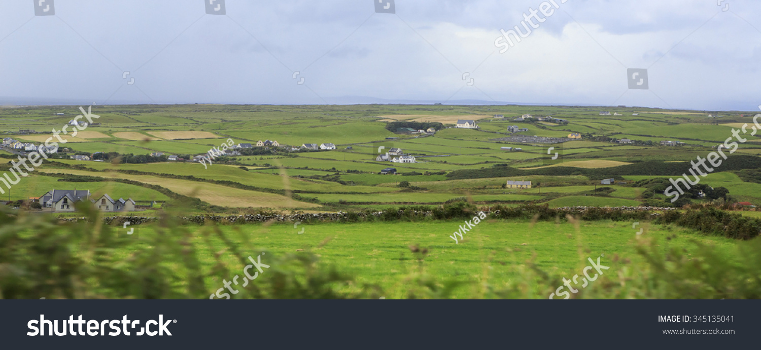 Scenic view of Rural farm houses among farmland. #345135041