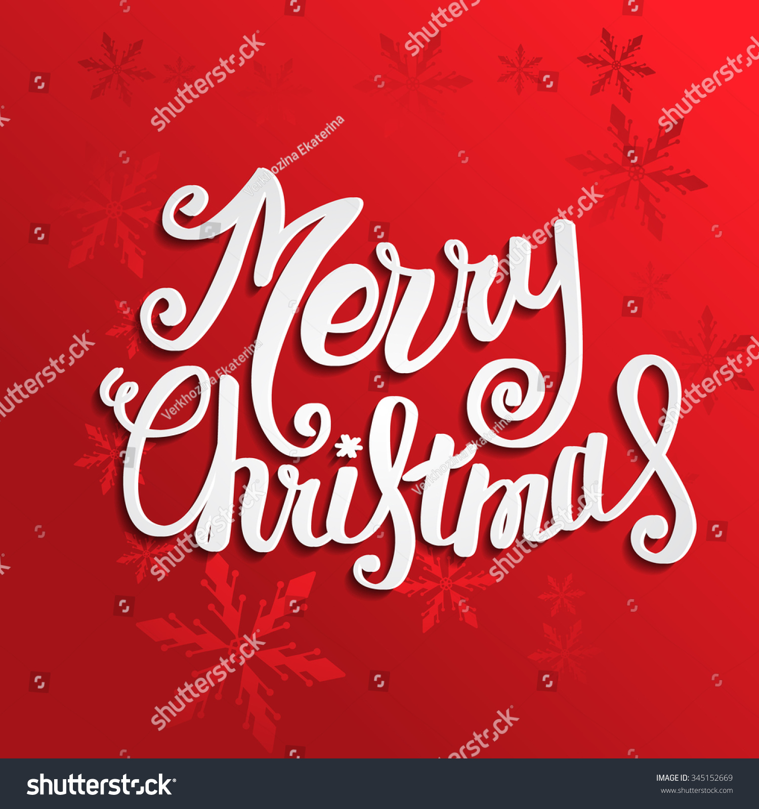 Vector Merry Christmas Card With Christmas Lettering