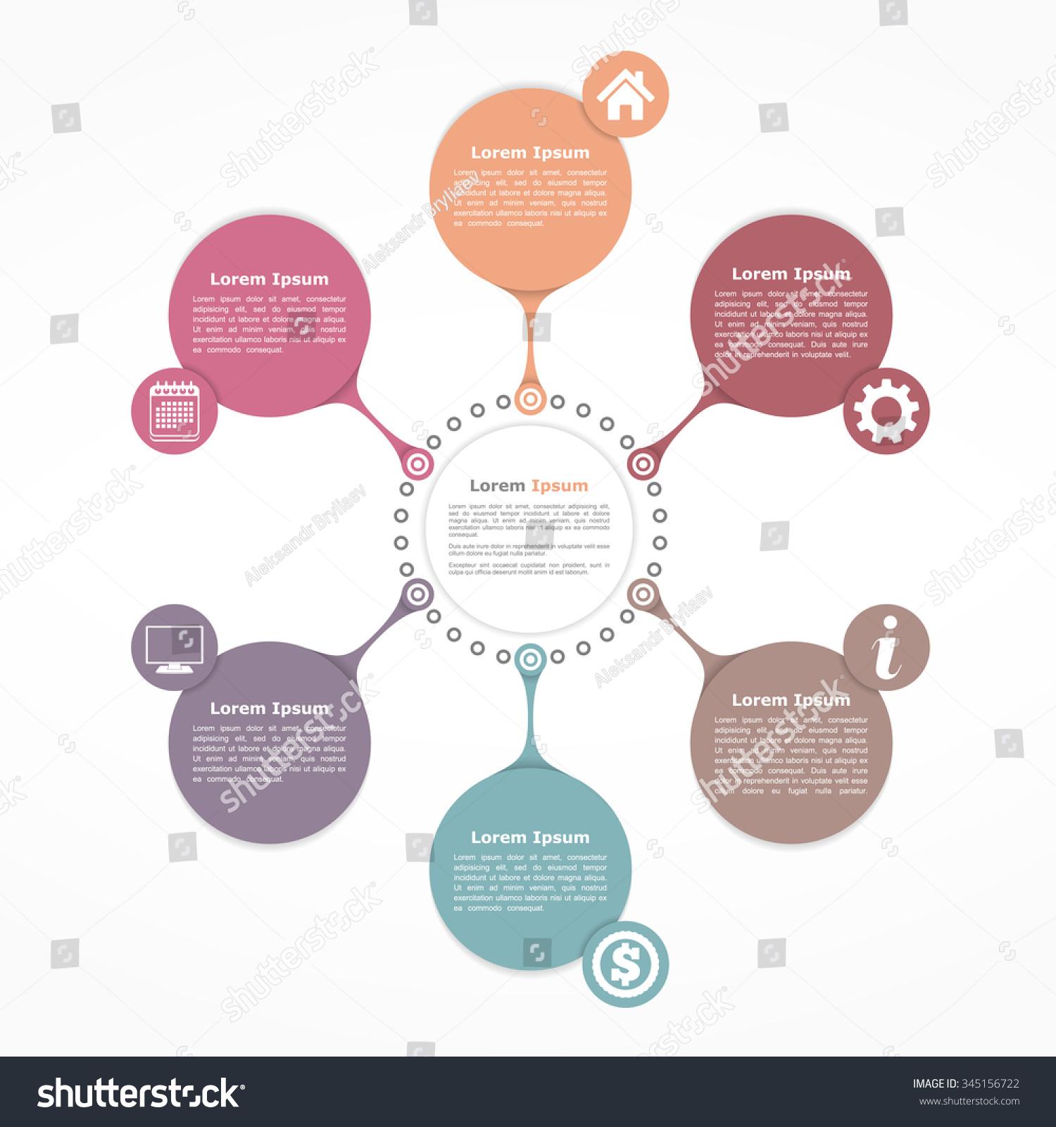 Vetor stock de circle flow diagram template six elements livre de circle flow diagram template with six elements vector eps10 illustration ccuart Gallery