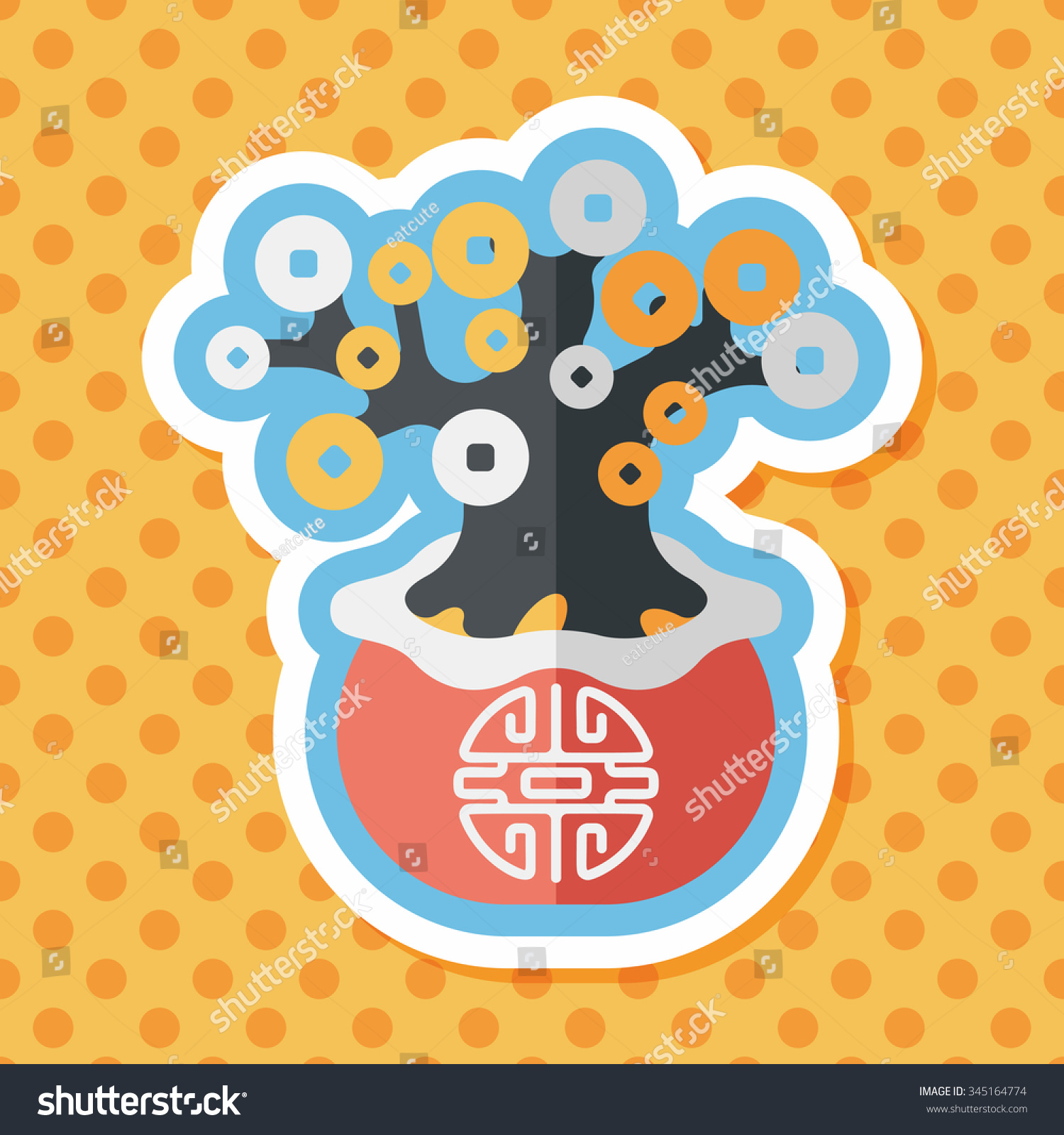 chinese new year flat icon with long shadoweps10 chinese decoration chinese words - How Long Is The Chinese New Year