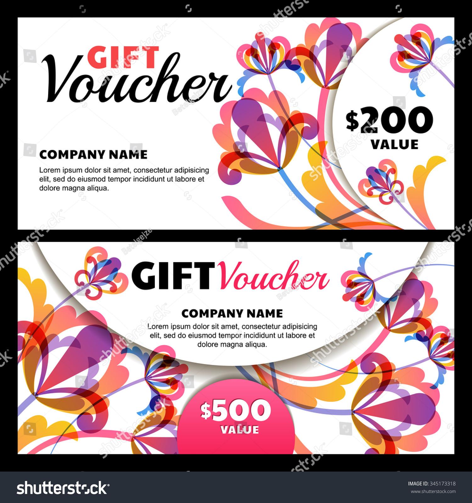 Vector Gift Voucher Exotic Flowers Business Stock Vector