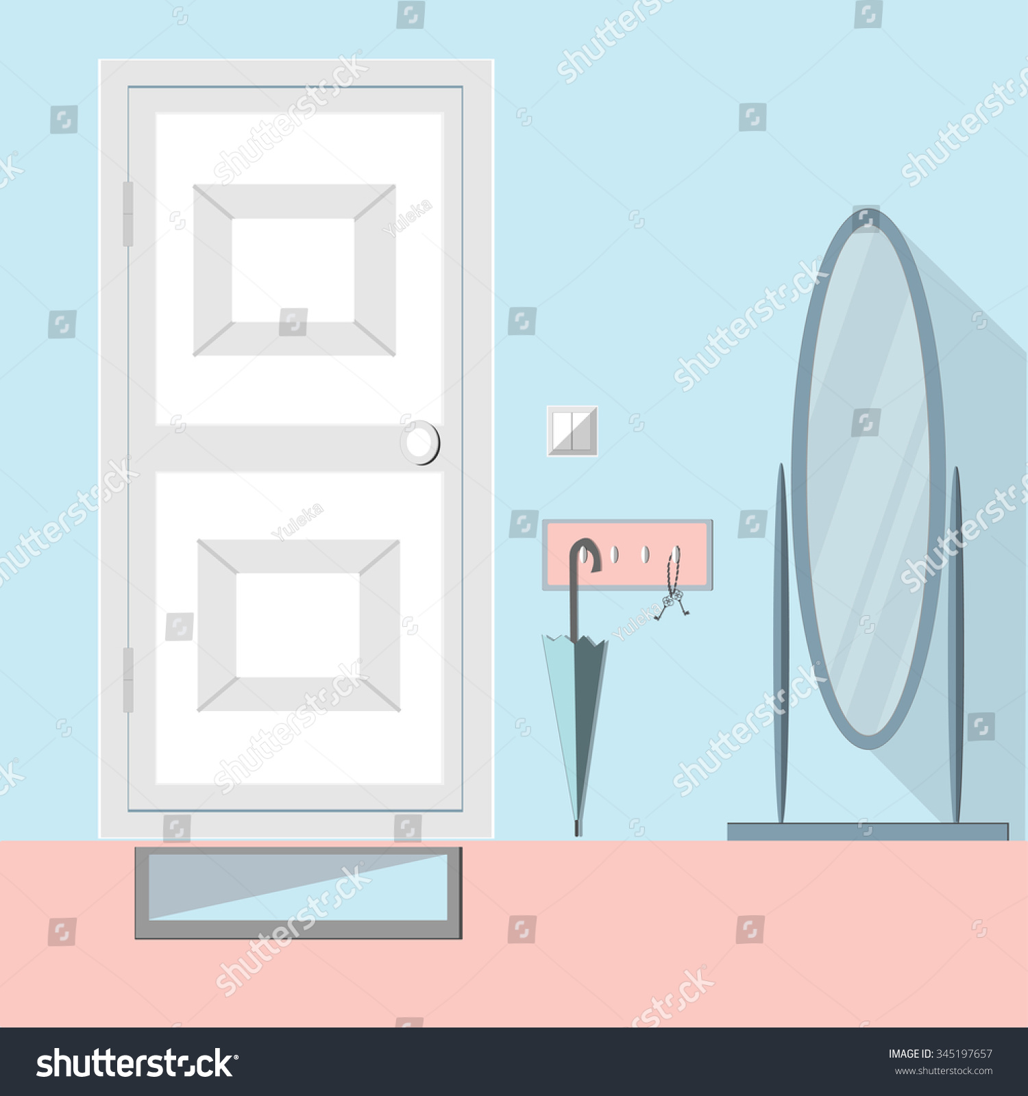 Hallway Modern Interior Mirror Door Keys Stock Vector Royalty Free