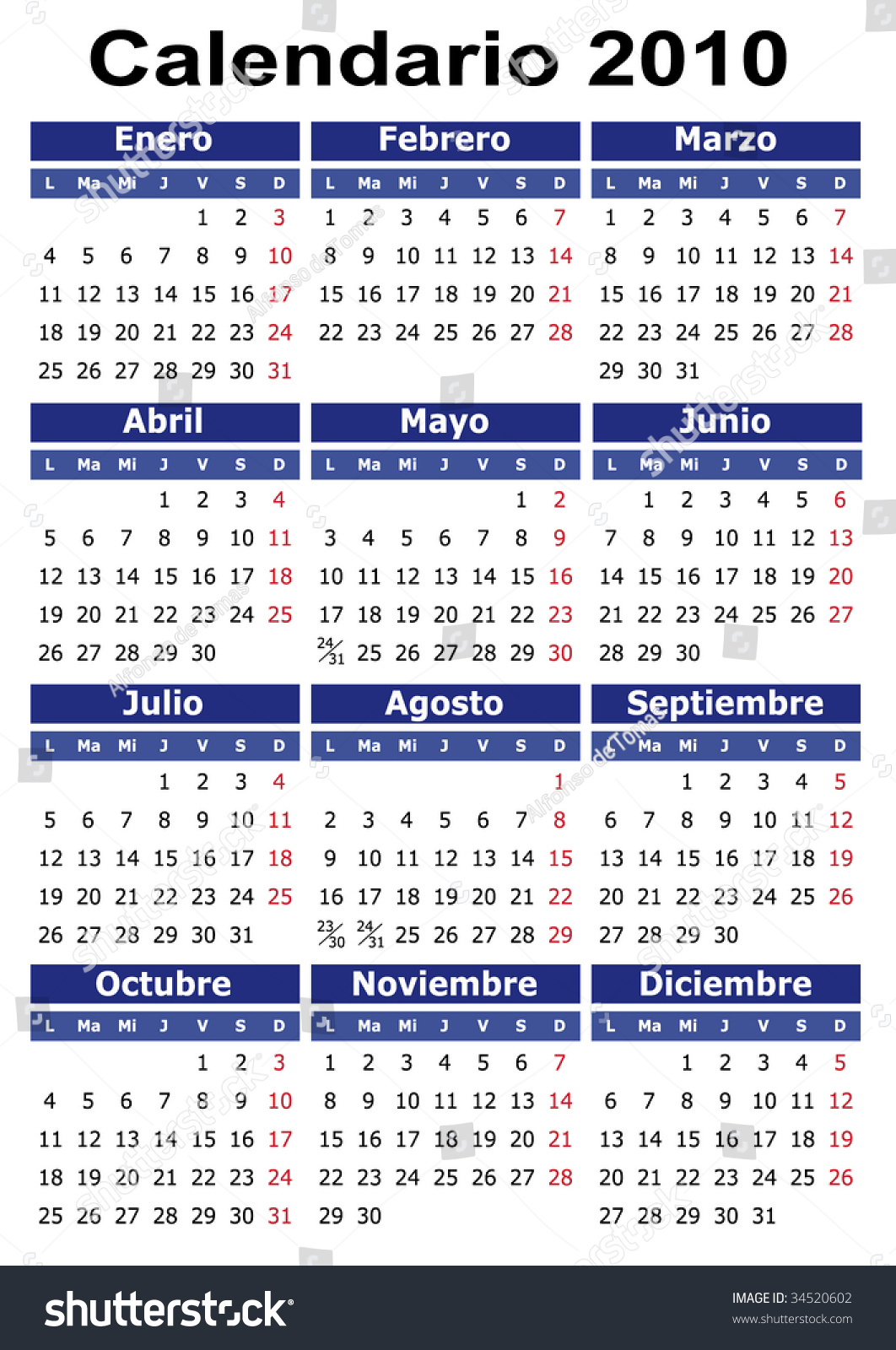 Calendario 2060.Spanish 2010 Vector Calendar Easy To Stock Photo 34520602