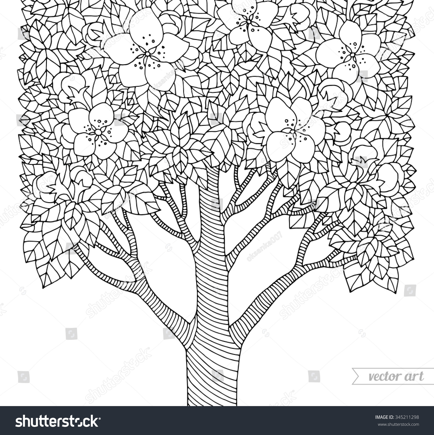 Coloring book page apple tree - Forest Apple Flower Tree Vector Artwork Love Bohemia Concept For Invitation Card