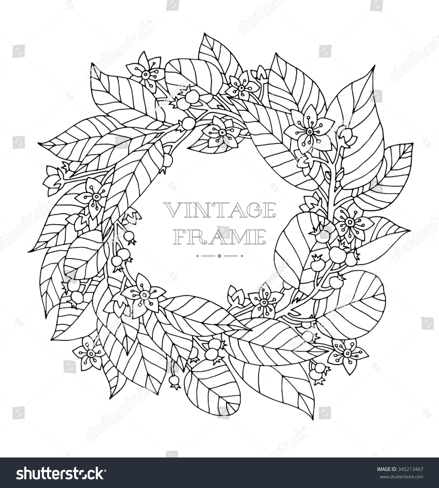 forest flowers wreath wild berries vector coloring book page for adult hand - Coloring Book Flowers