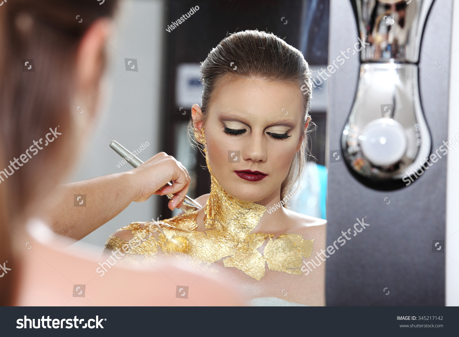 Make Model Mirror Gilded Body Paint Stock Photo Edit Now 345217142