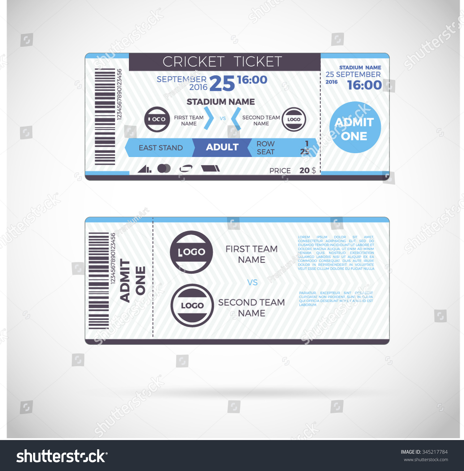 Cricket Ticket Card Modern Design Template Vector de stock345217784 ...