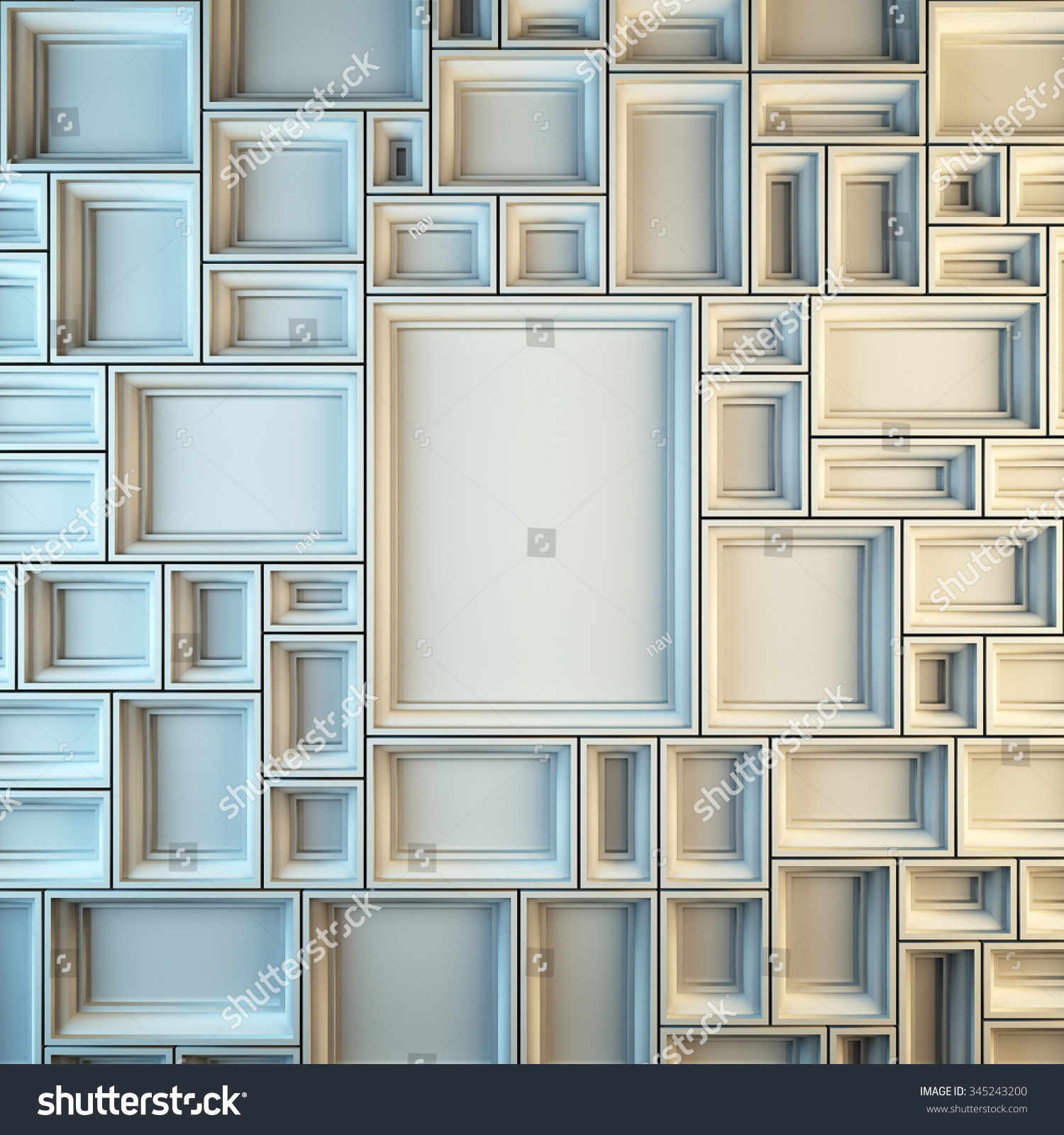 a 3d render illustration blank template layout of white empty frames at wall copy space