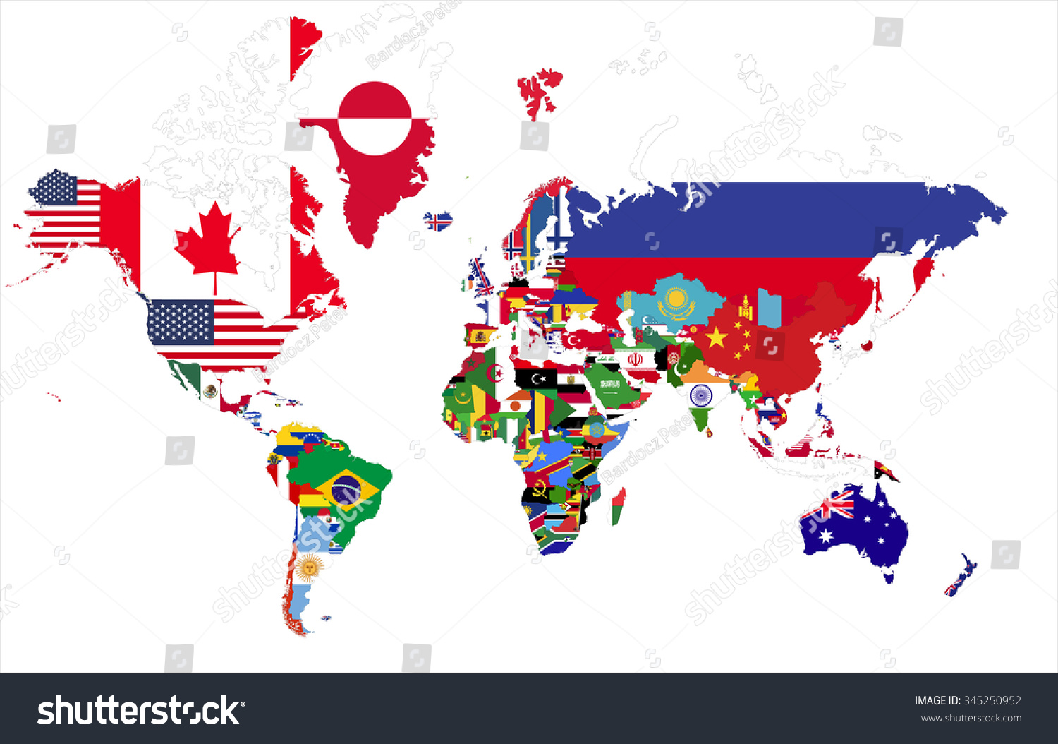 Political Map World Country Flags Stock Vector Royalty Free