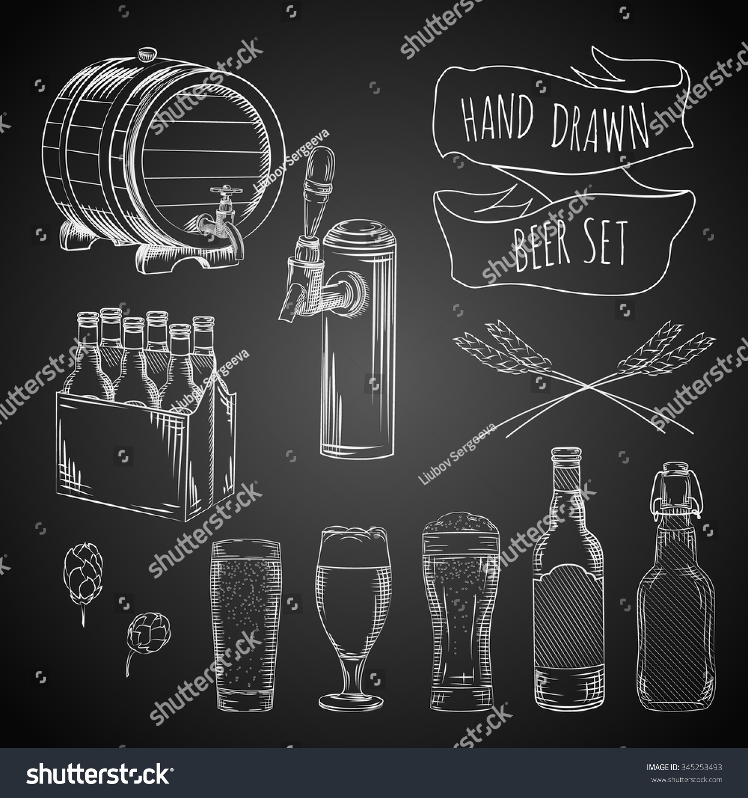 Vector Hand Drawn Beer Set Glasses Stock-Vektorgrafik (Lizenzfrei ...