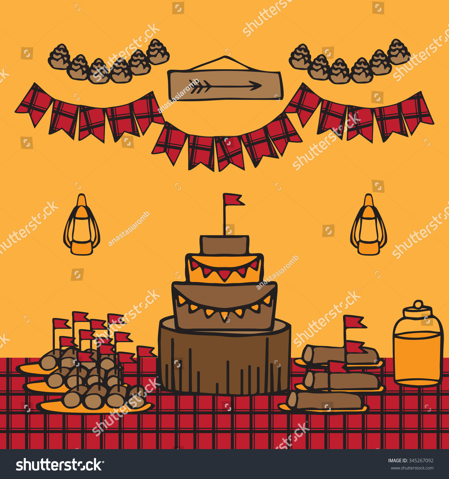 Rustic Woodsy Outdoor Lumberjack Party Ideas Stock Vector