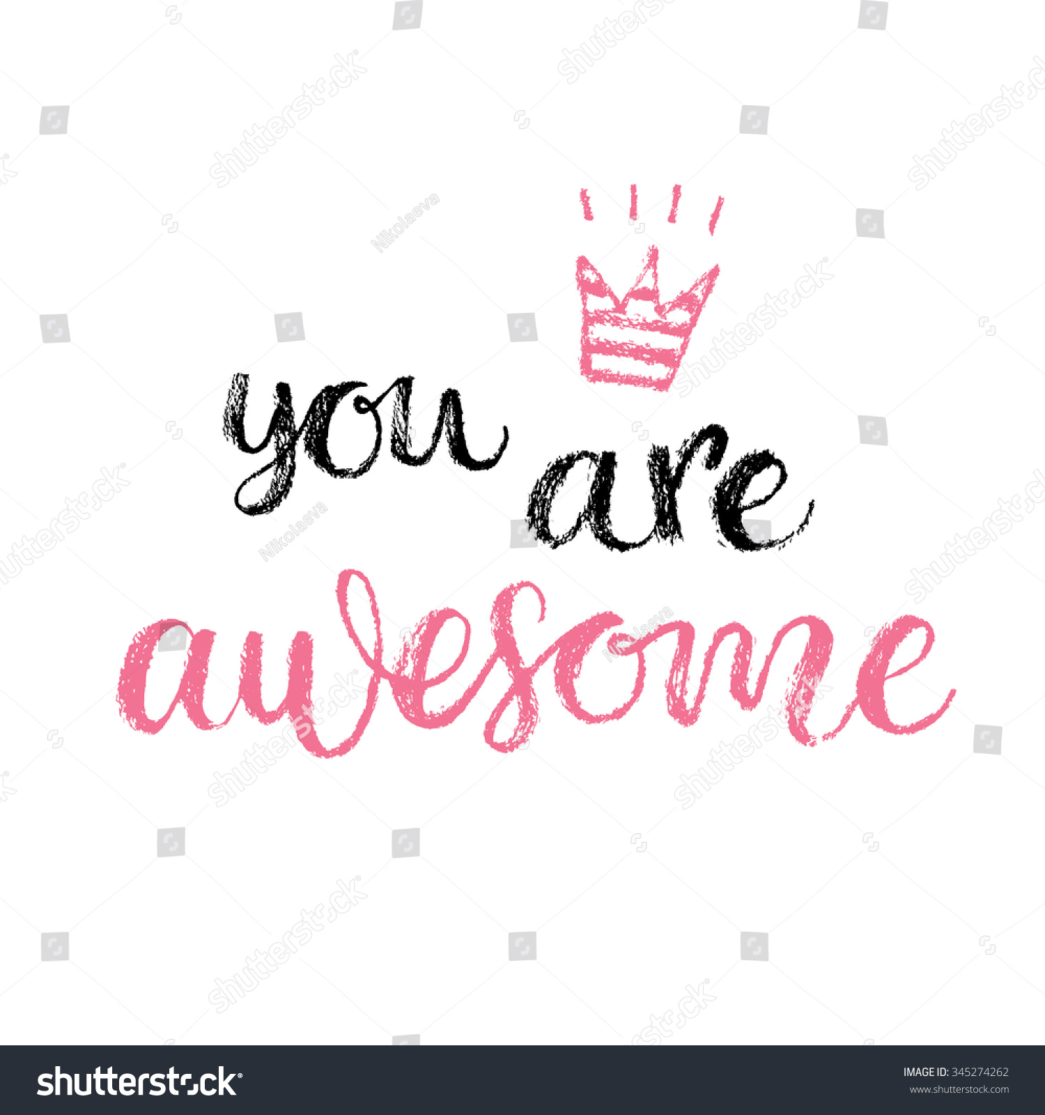You Are Awesome: You Awesome Hand Lettering Calligraphy Quote Stock Vector