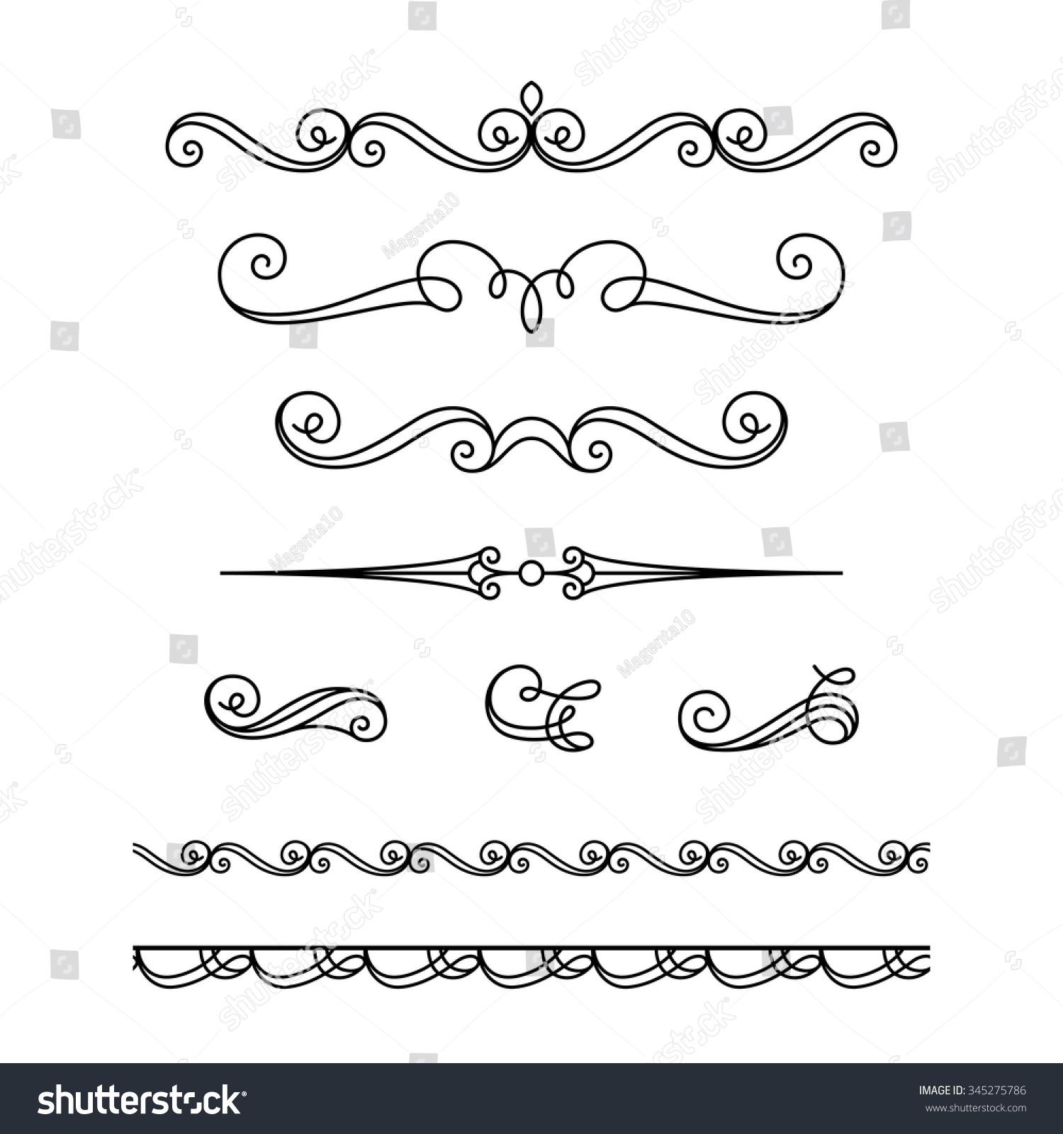 Antique Scroll Line: Set Vintage Calligraphic Vignettes Flourishes Decorative