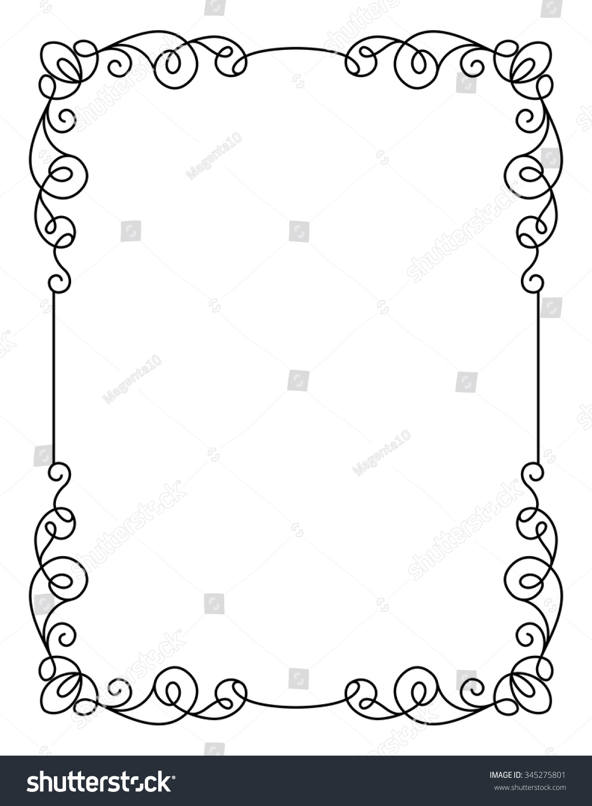Calligraphic Rectangle Frame Simple Frame Ornament Stock Vector ...