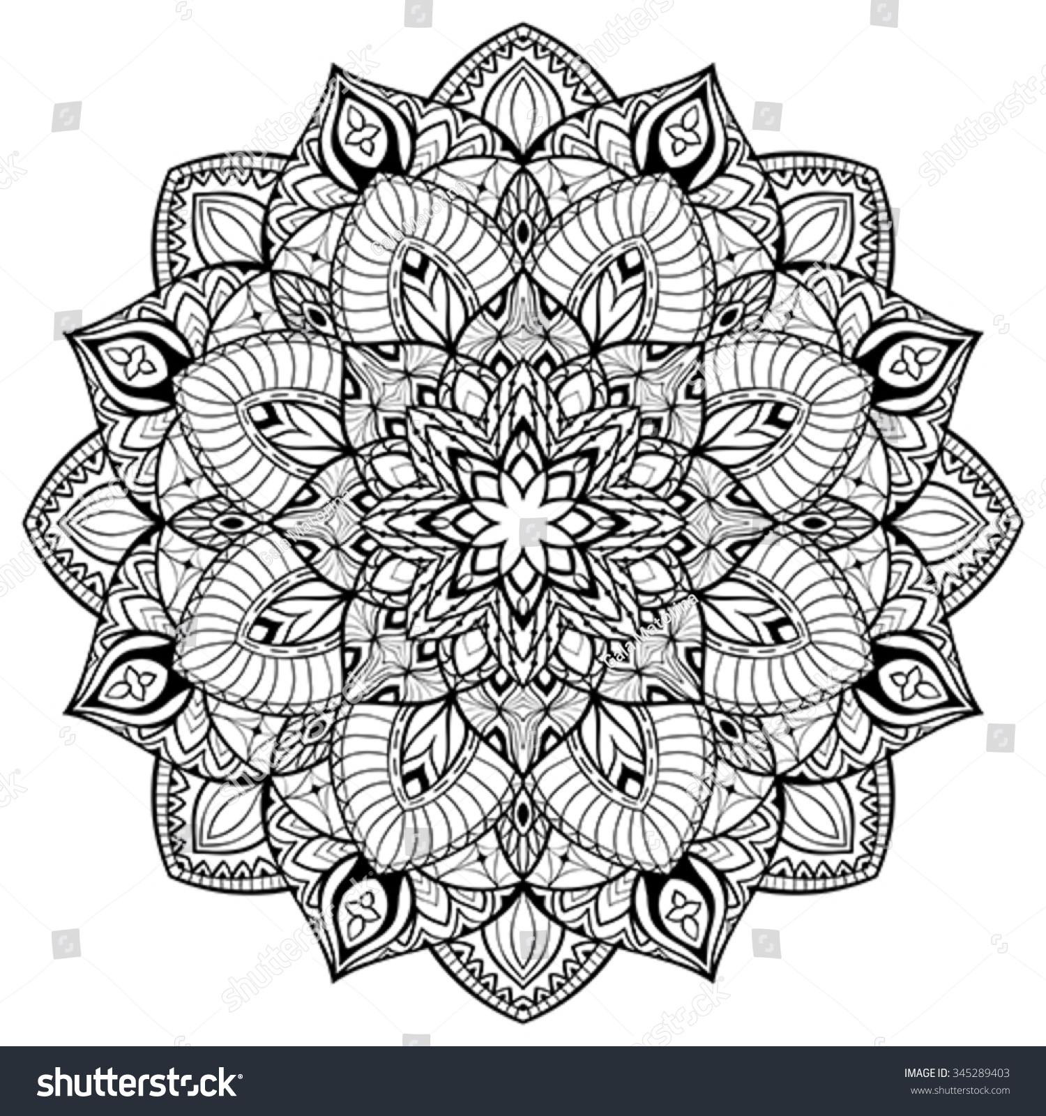 Elegant Vector Abstract Mandala Thin Lines Stock Vector 345289403 ...