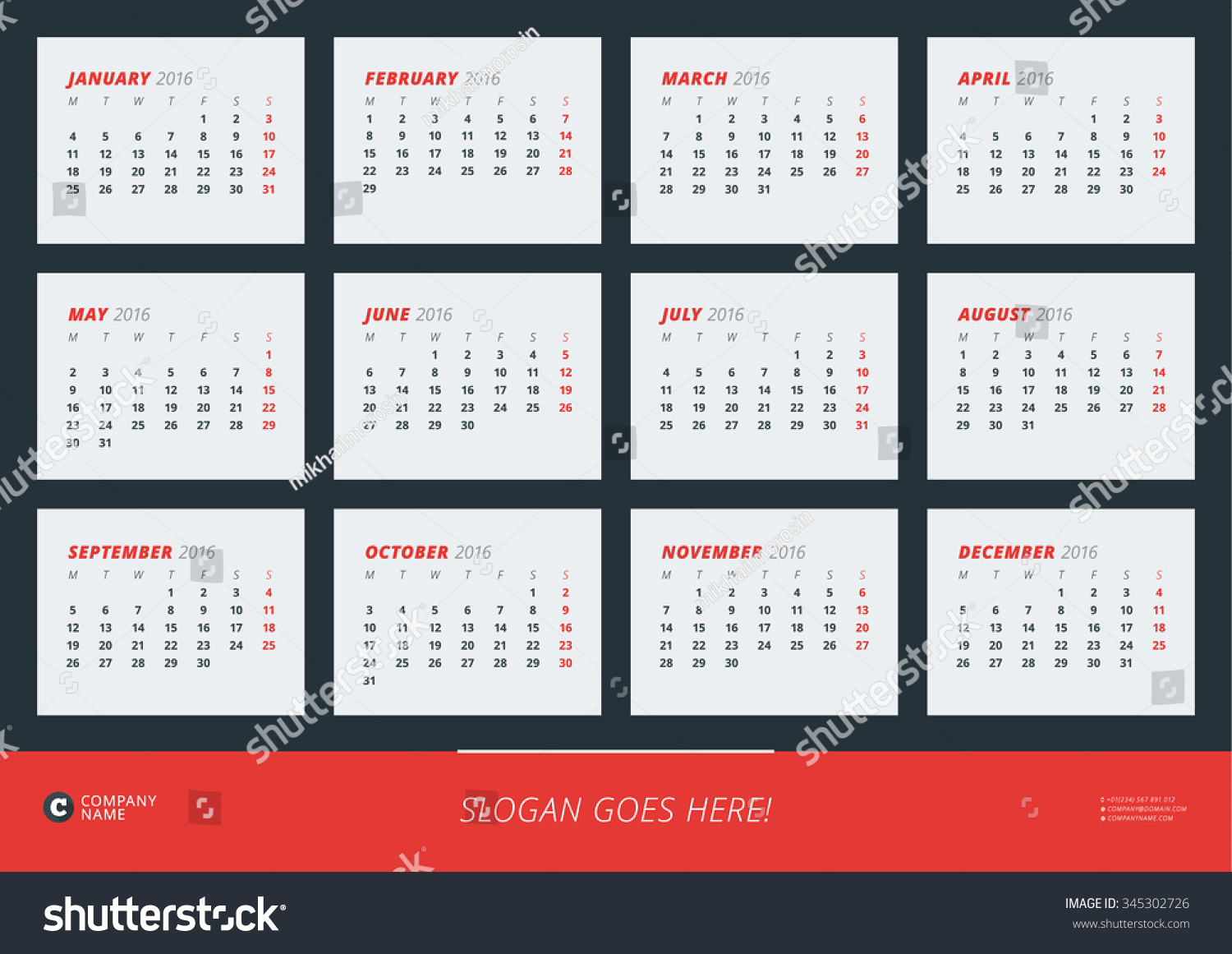Calendar Design Poster : Wall calendar poster year vector stock