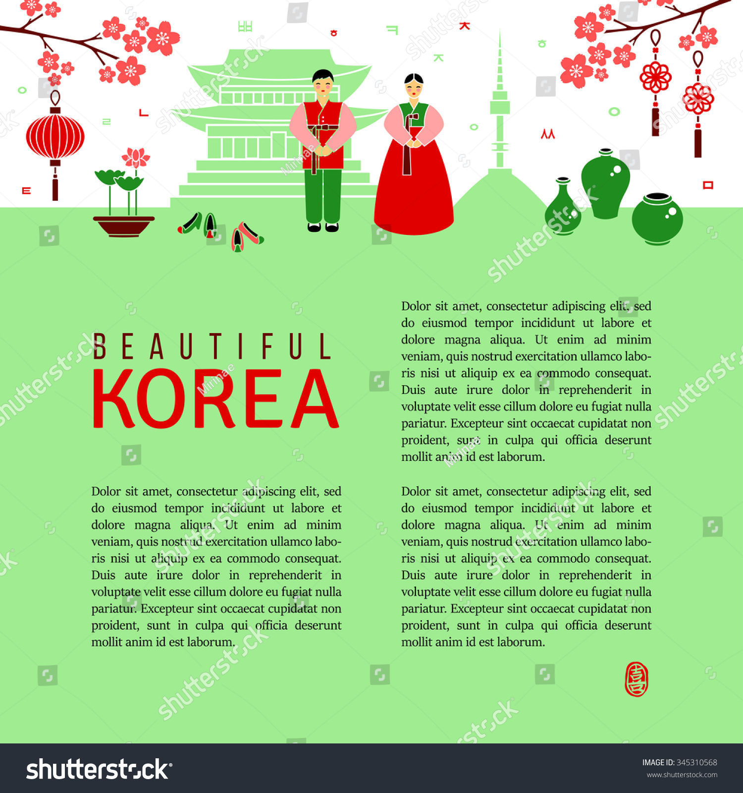 Beautiful Korea Background Flat Icons Cultural Stock Vector 2018