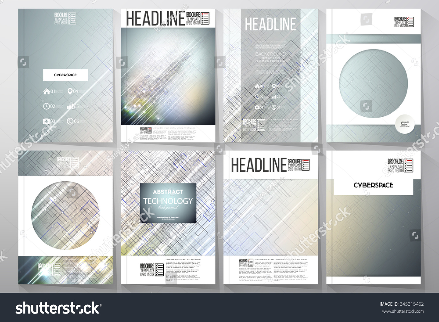 Set of business templates for brochure flyer or booklet Abstract science or technology vector background