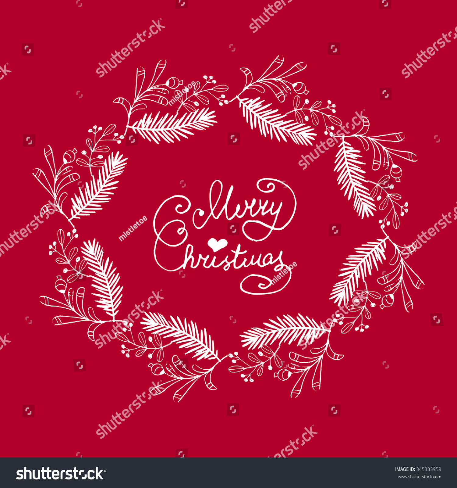 Unique Haddrawn Christmas Greeting Card Merry Christmas Stock Vector