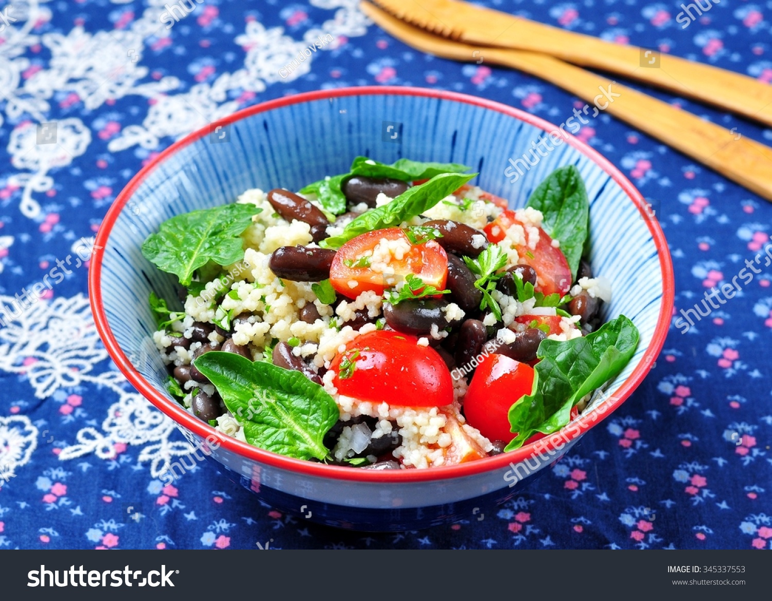 Couscous salad and brown beans, with olive oil, with organic cherry ...