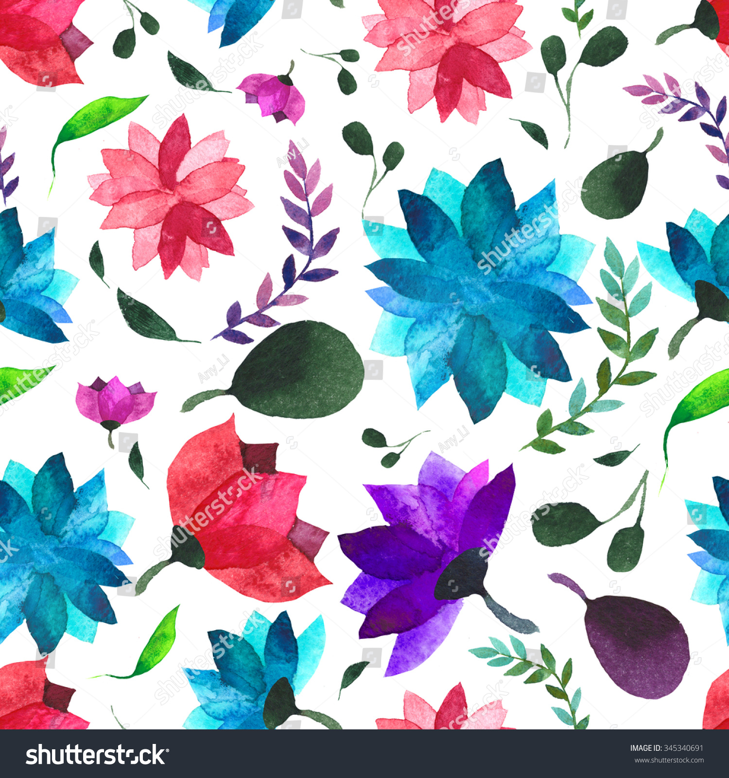 Watercolor Floral Wallpaper Seamless Pattern Background Stock