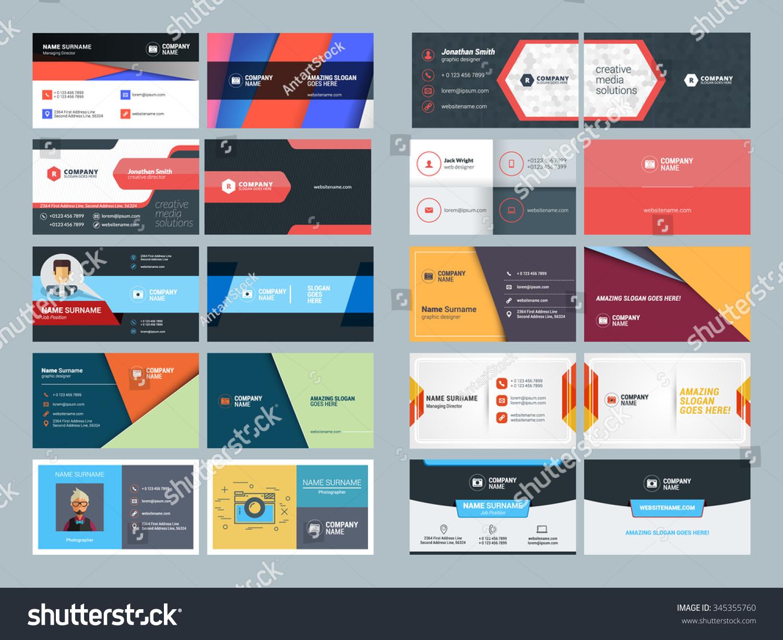 set modern creative clean business card stock vector 345355760