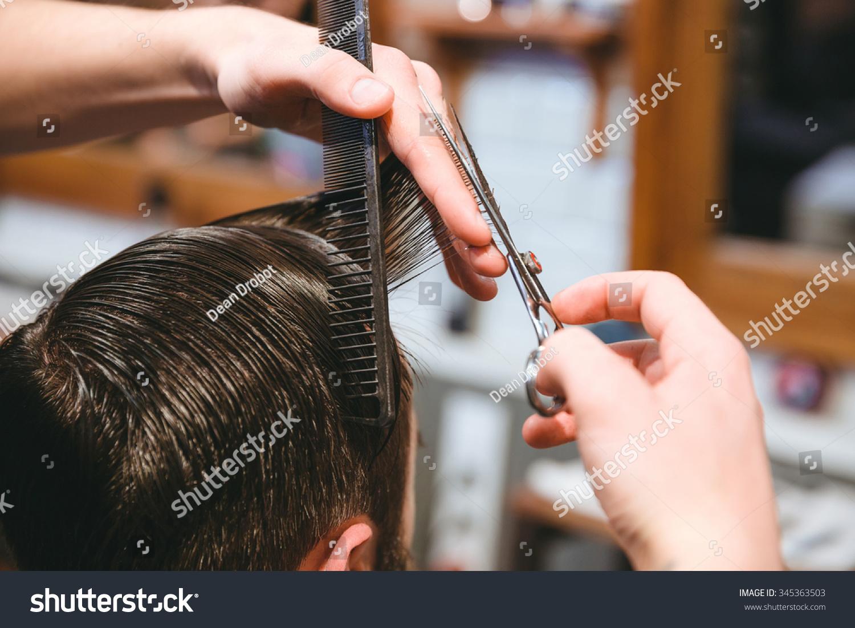 Closeup Barbers Hands Making Short Haircut Stock Photo Edit Now