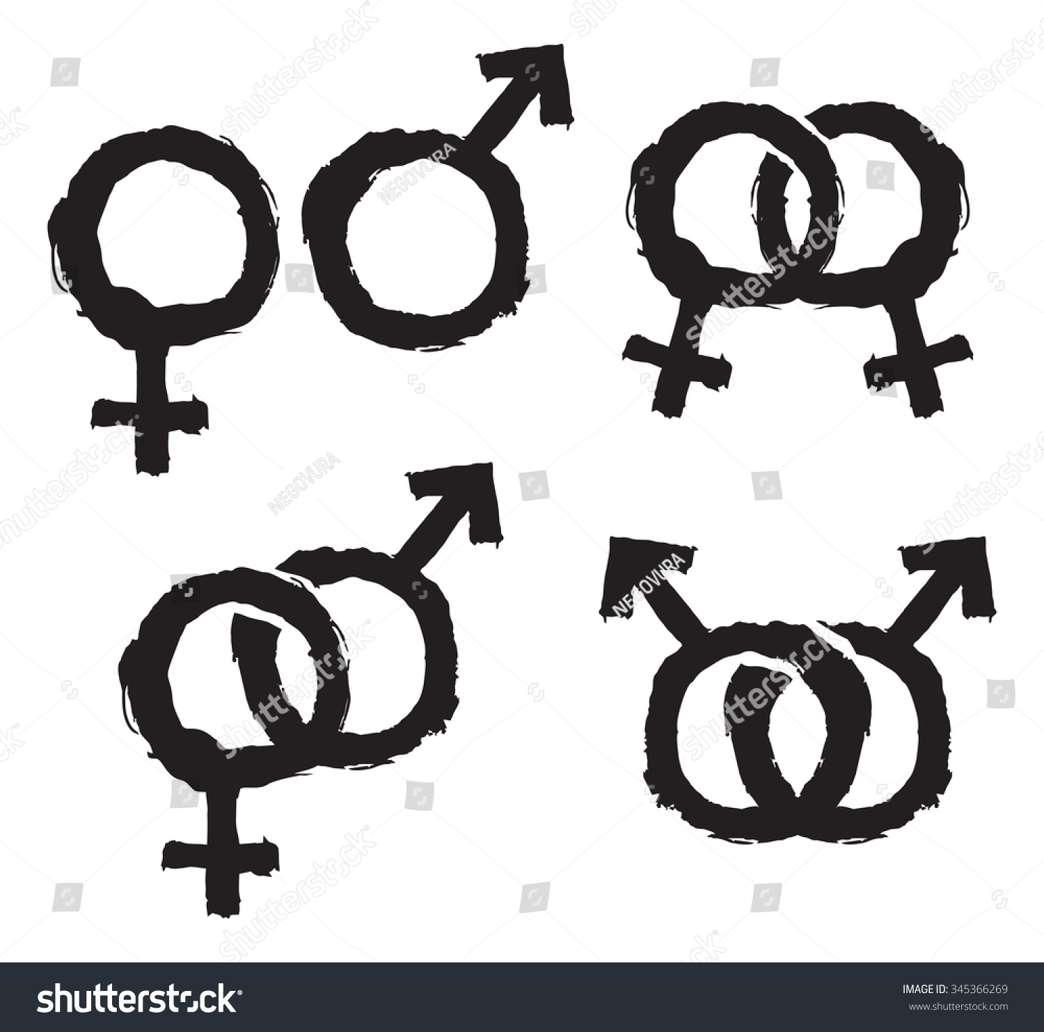 Hand Drawn Male Female Gender Symbols Stock Vector Royalty Free