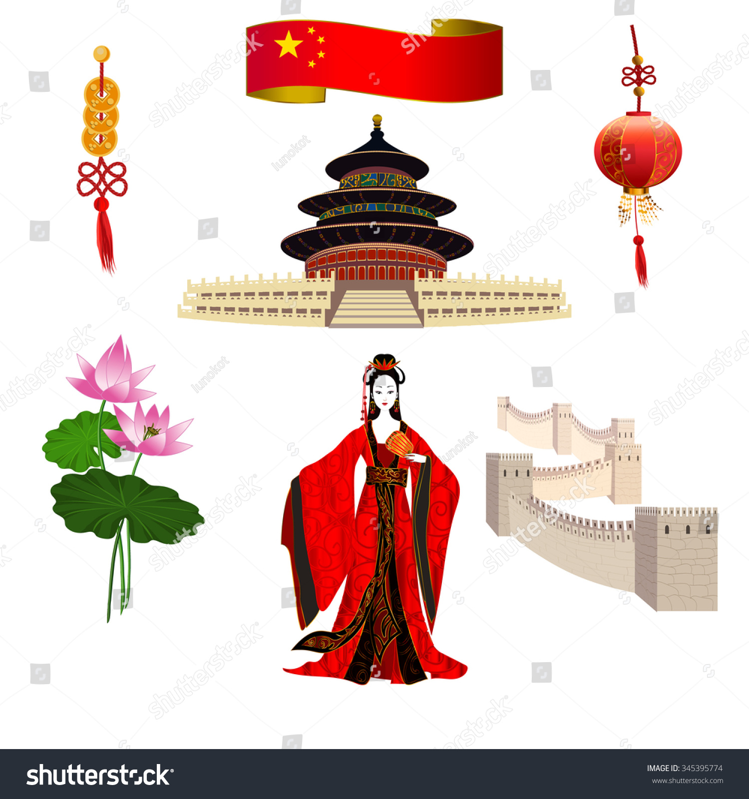 National symbols china chinese woman red stock vector 345395774 national symbols of china chinese woman in a red dress temple of heaven buycottarizona Gallery