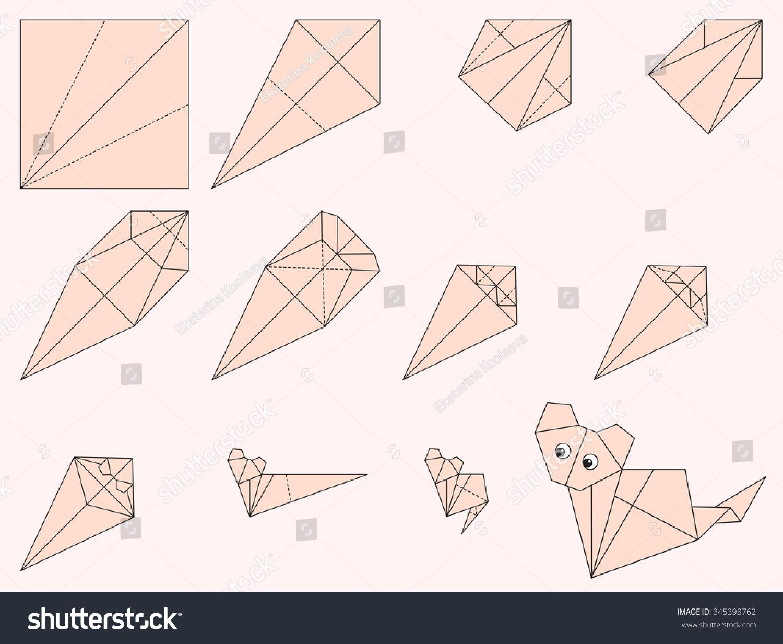 origami cat illustration instruction how make stock vector (royalty
