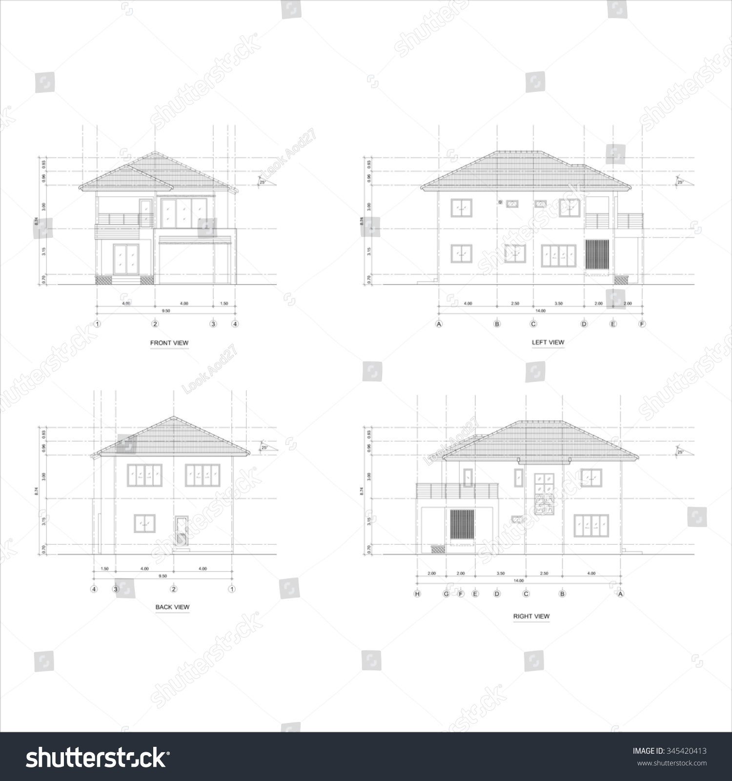 Architect elevation drawing of two storey house