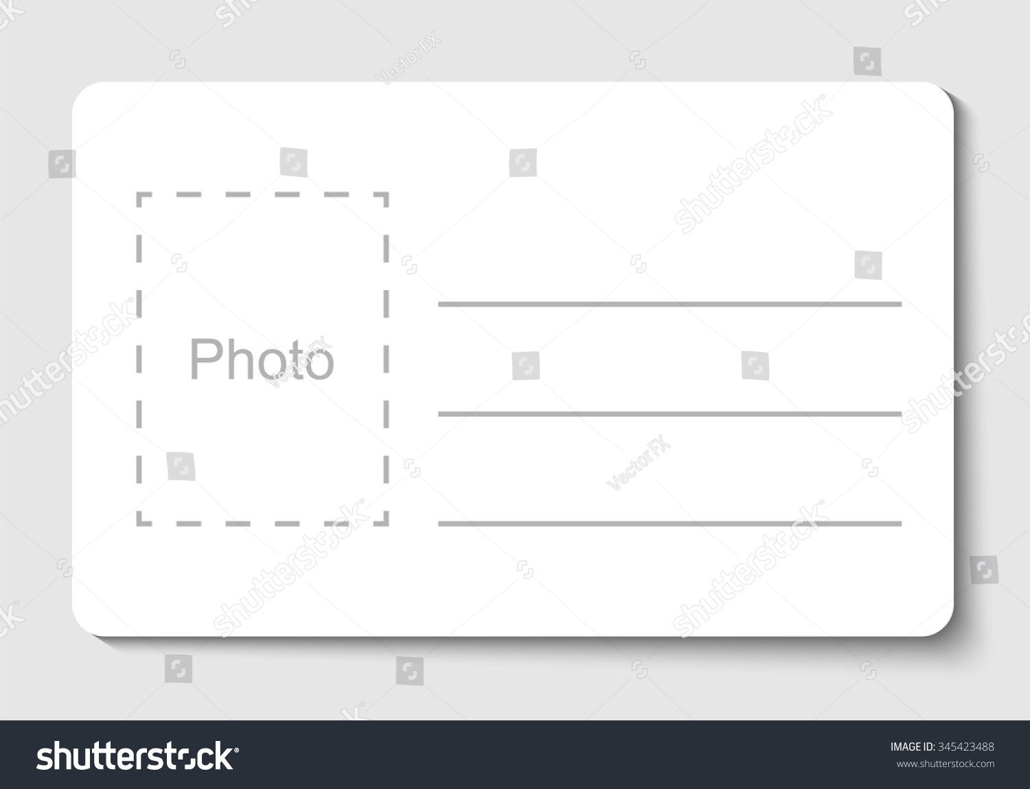 Empty Blank Id Card Vector Illustration Vector 345423488 – Blank Id Card Template
