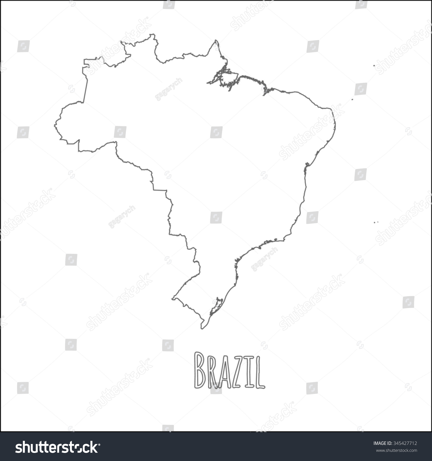 Outline vector map brazil simple brazil vectores en stock 345427712 outline vector map of brazil simple brazil border map vector silhouette on white background gumiabroncs Gallery