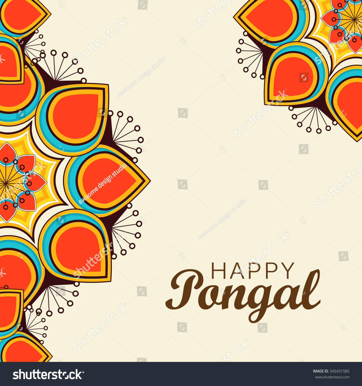 Vector Illustration Happy Pongal Greeting Card Stock Vector Royalty