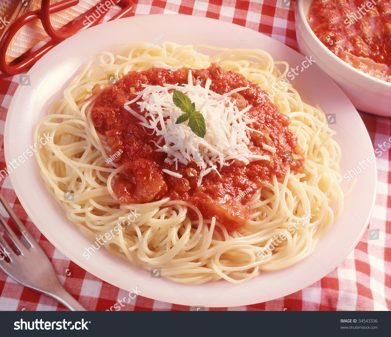 Spaghetti Tomato Sauce Trimmed Cheese Stock Photo 34543336 ...