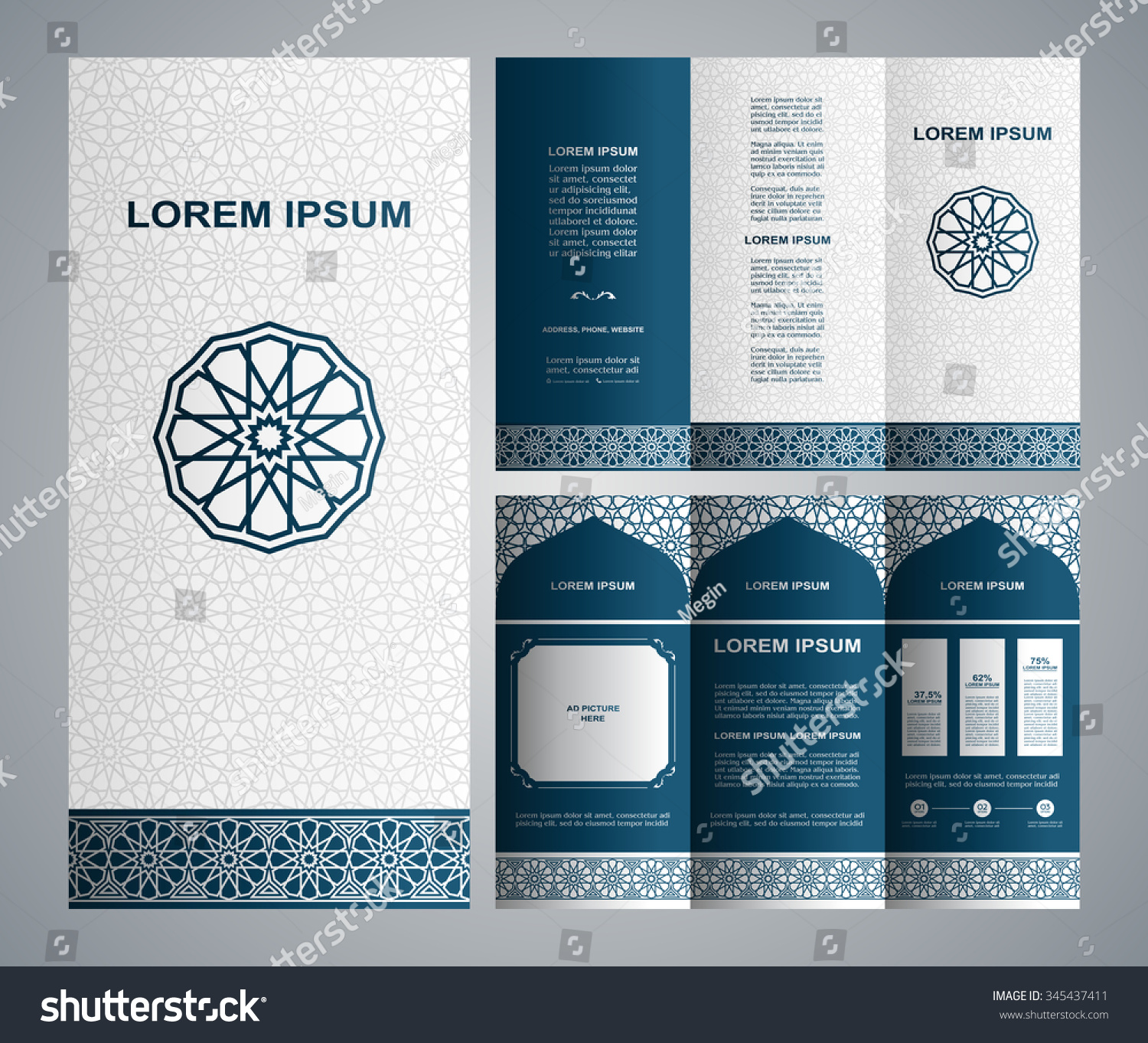 Vintage islamic style brochure and flyer design template with logo ...