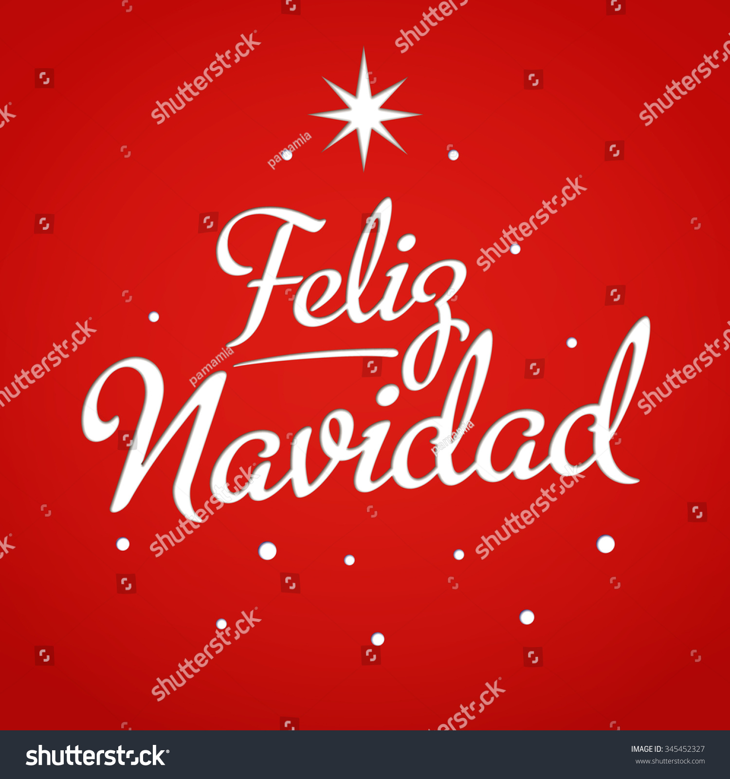 Merry Christmas Card Template Greetings Spanish Stock Vector