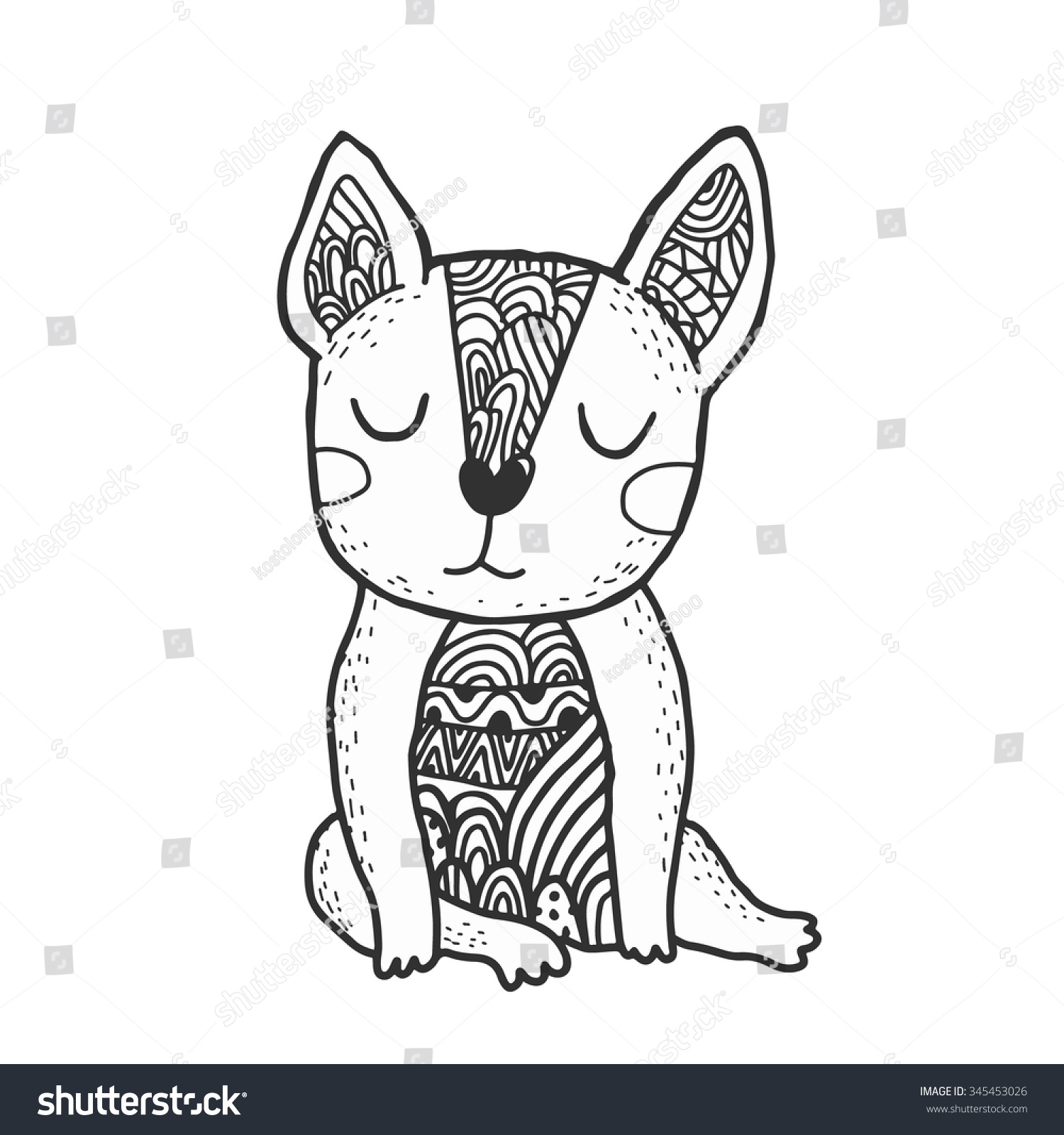 cute cartoon doodle french bulldog stock vector 345453026