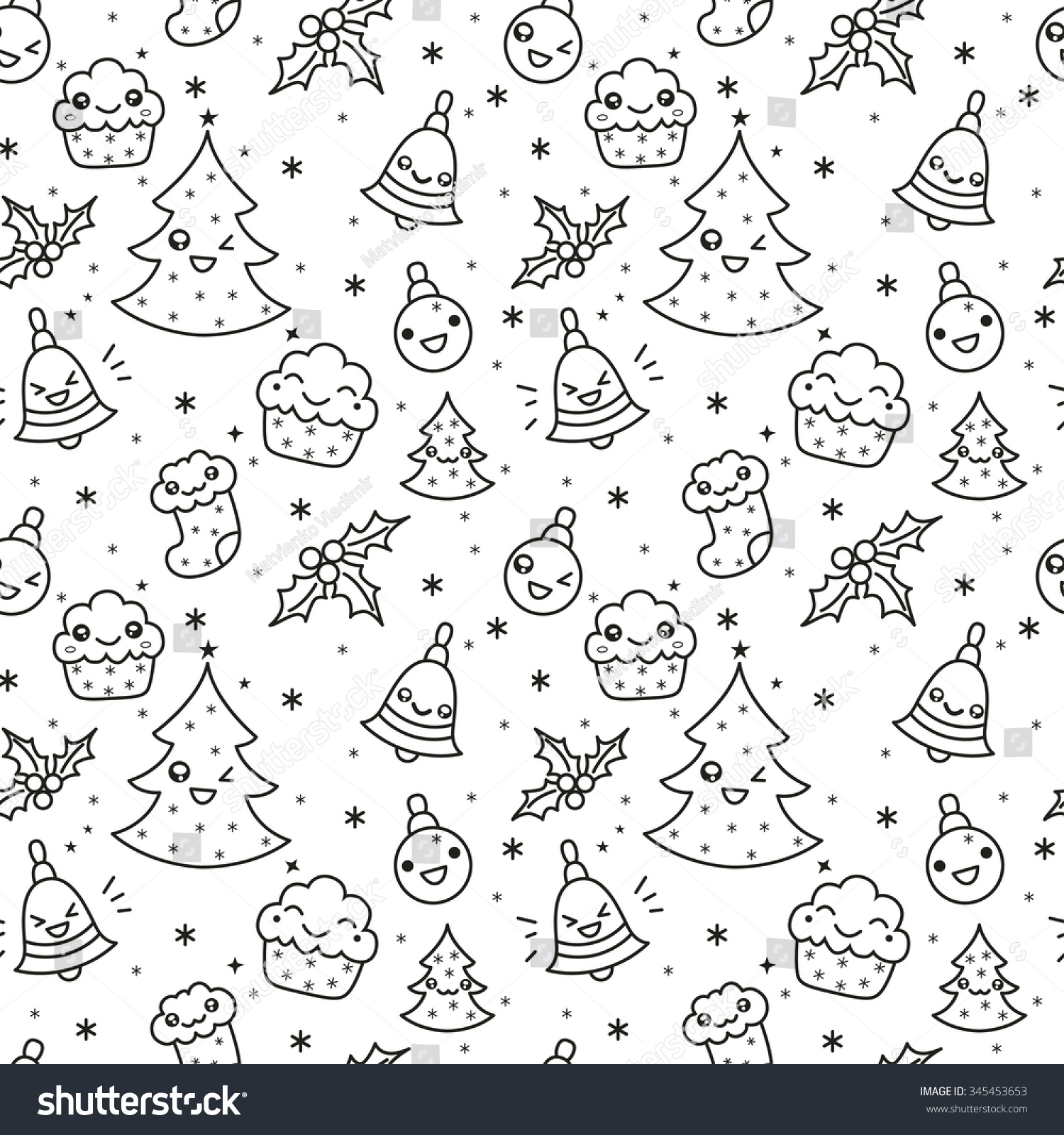 Vector Seamless Line Kawaii Christmas New Stock Vector (Royalty Free ...