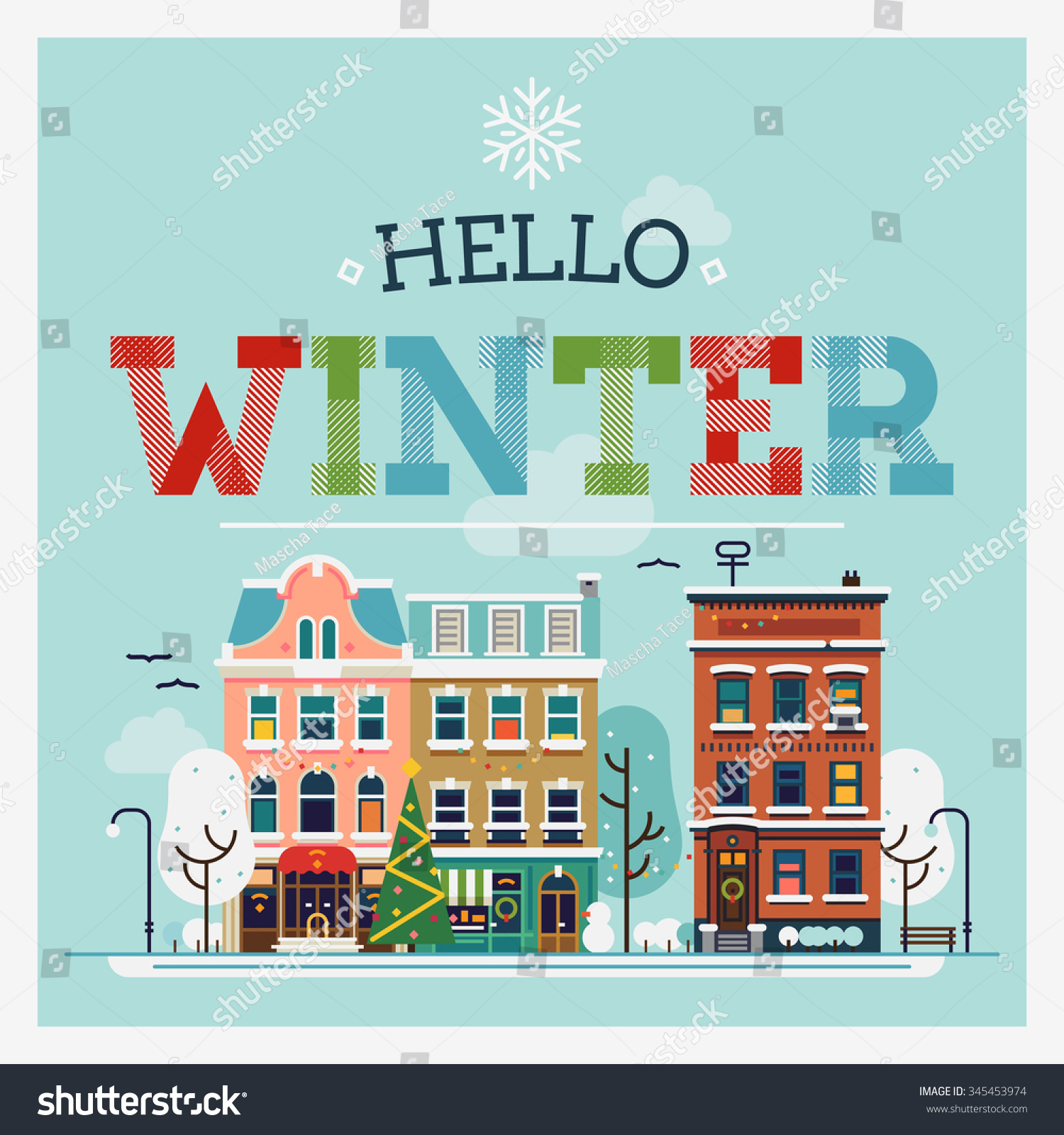 Attrayant Hello Winter Lovely Vector Flat Illustration. Small Town Street In Snowy Winter  Season. Ideal