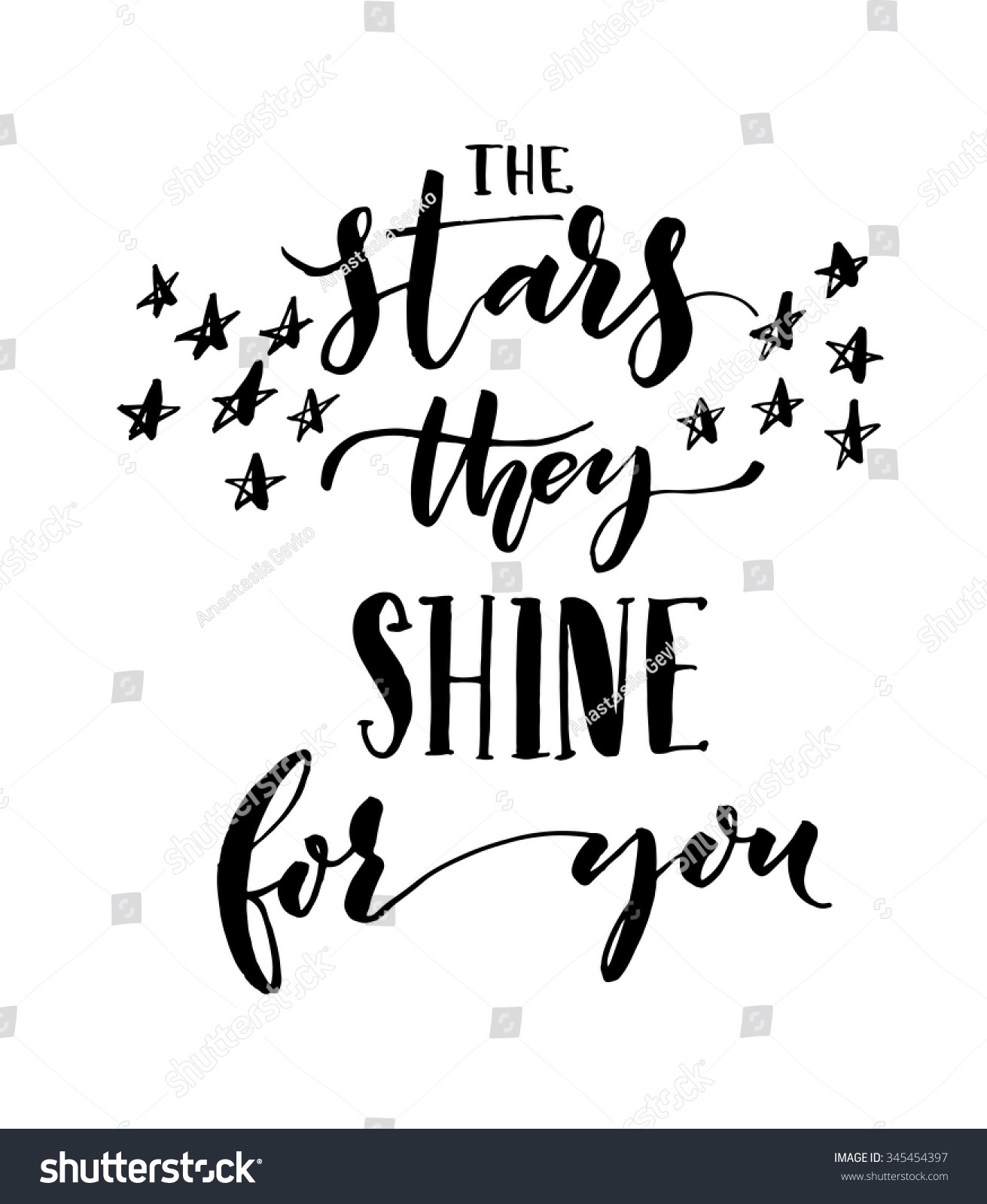 Stars they shine you card ink stock vector
