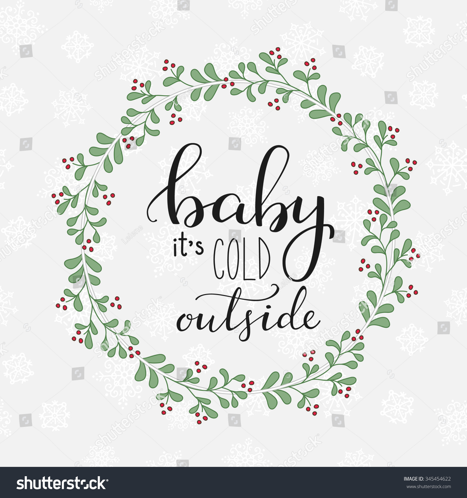 Winter romantic lettering calligraphy postcard or
