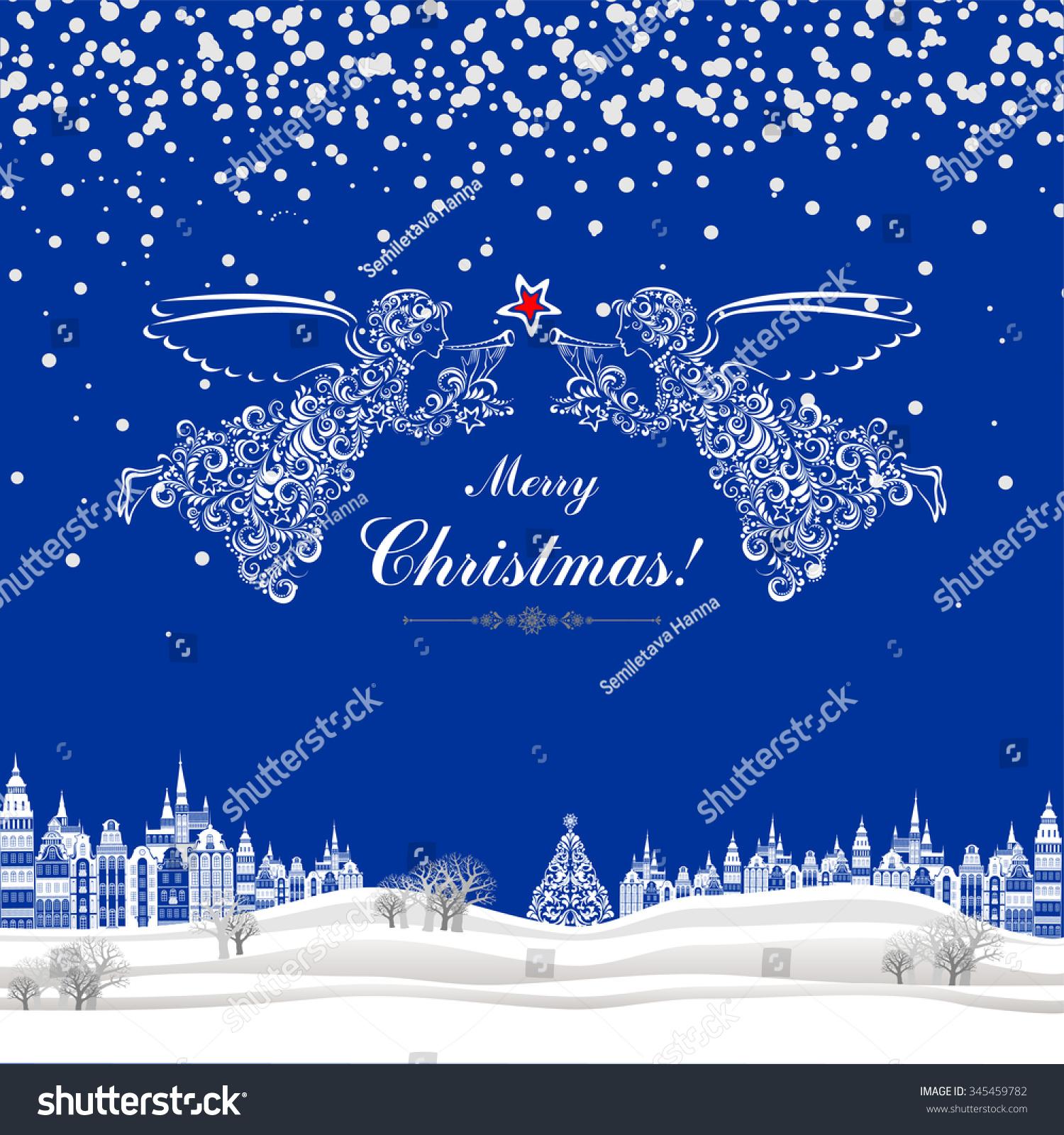 Christmas greeting card celebration background angels stock vector christmas greeting card celebration background with angels christmas star christmas tree beautiful kristyandbryce Images