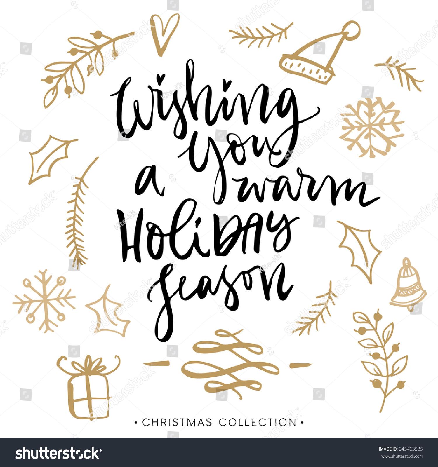 Wishing You Warm Holiday Season Christmas Stock Vector
