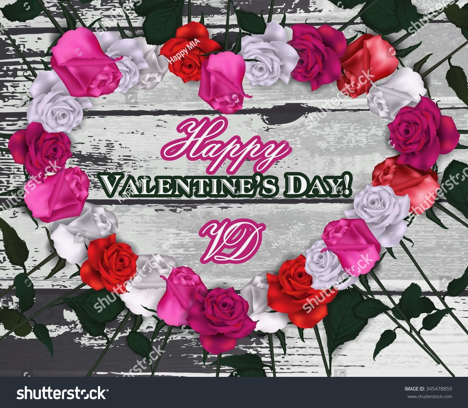 Beautiful Valentines Day Composition Rose Flowers Stock Vector