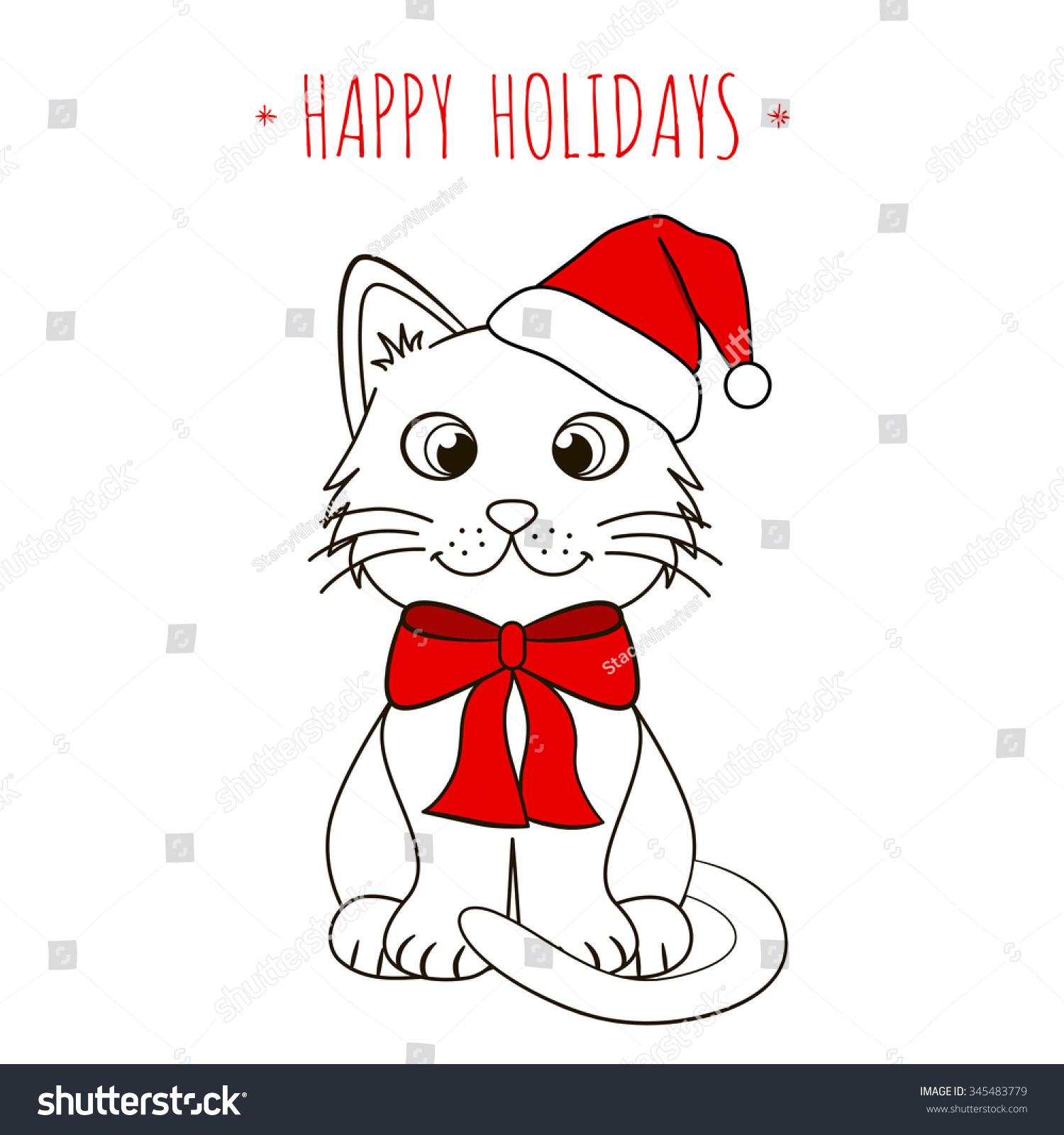 Cute Kitten Santa Hat Funny Cat Stock Vector Royalty Free